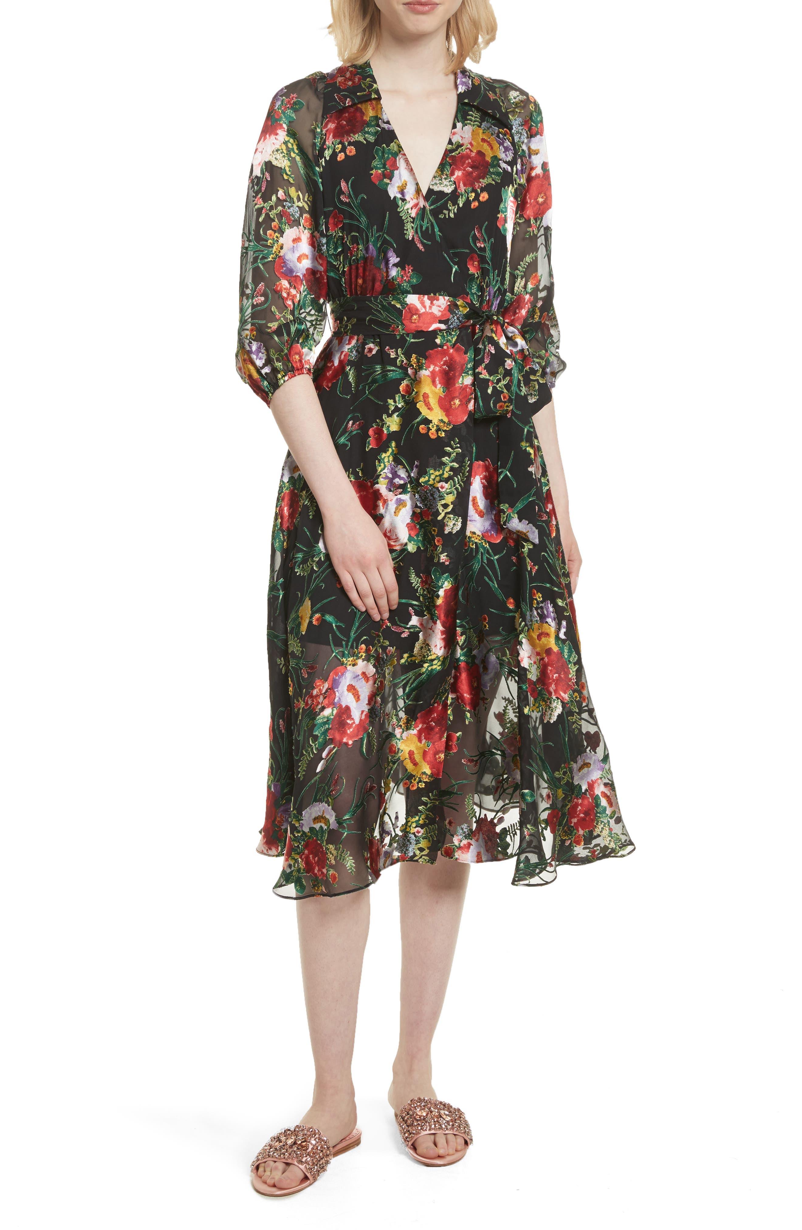 Main Image - Alice + Olivia Abney Floral Wrap Shirtdress