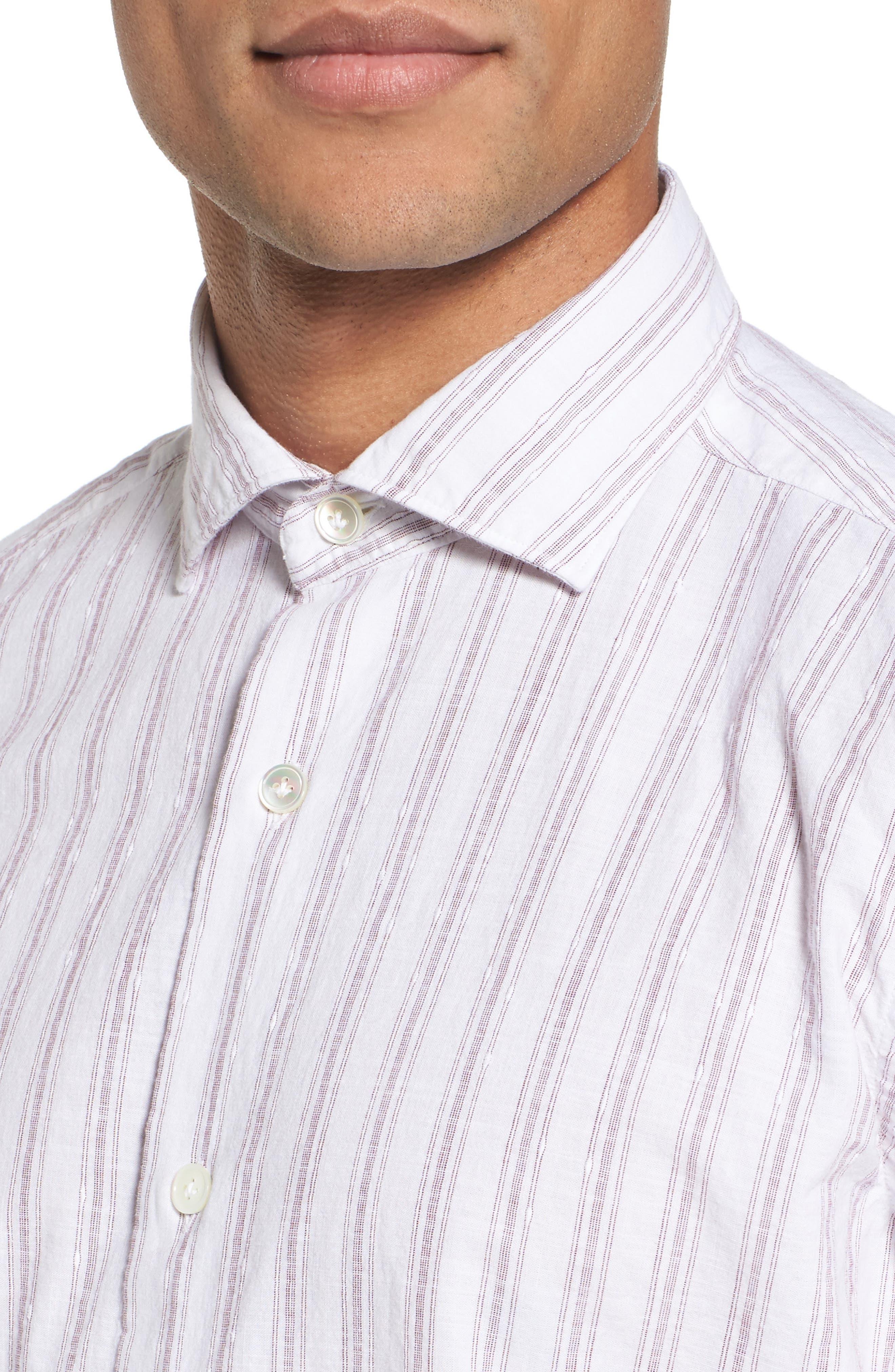 John T Slim Fit Sport Shirt,                             Alternate thumbnail 3, color,                             Blue/ Nat