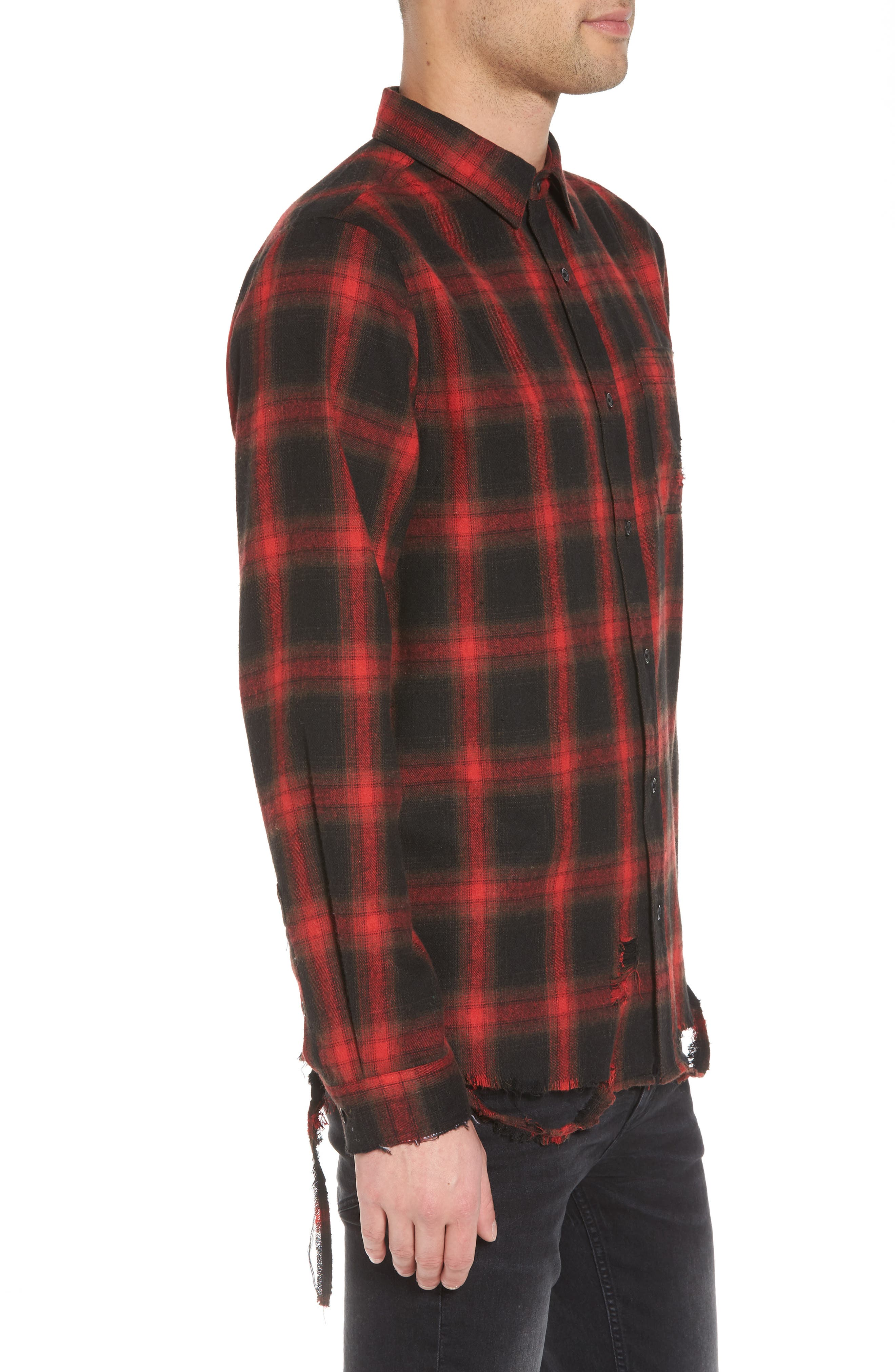 Shredded Plaid Flannel Shirt,                             Alternate thumbnail 3, color,                             Black Rock Red Ombre Check