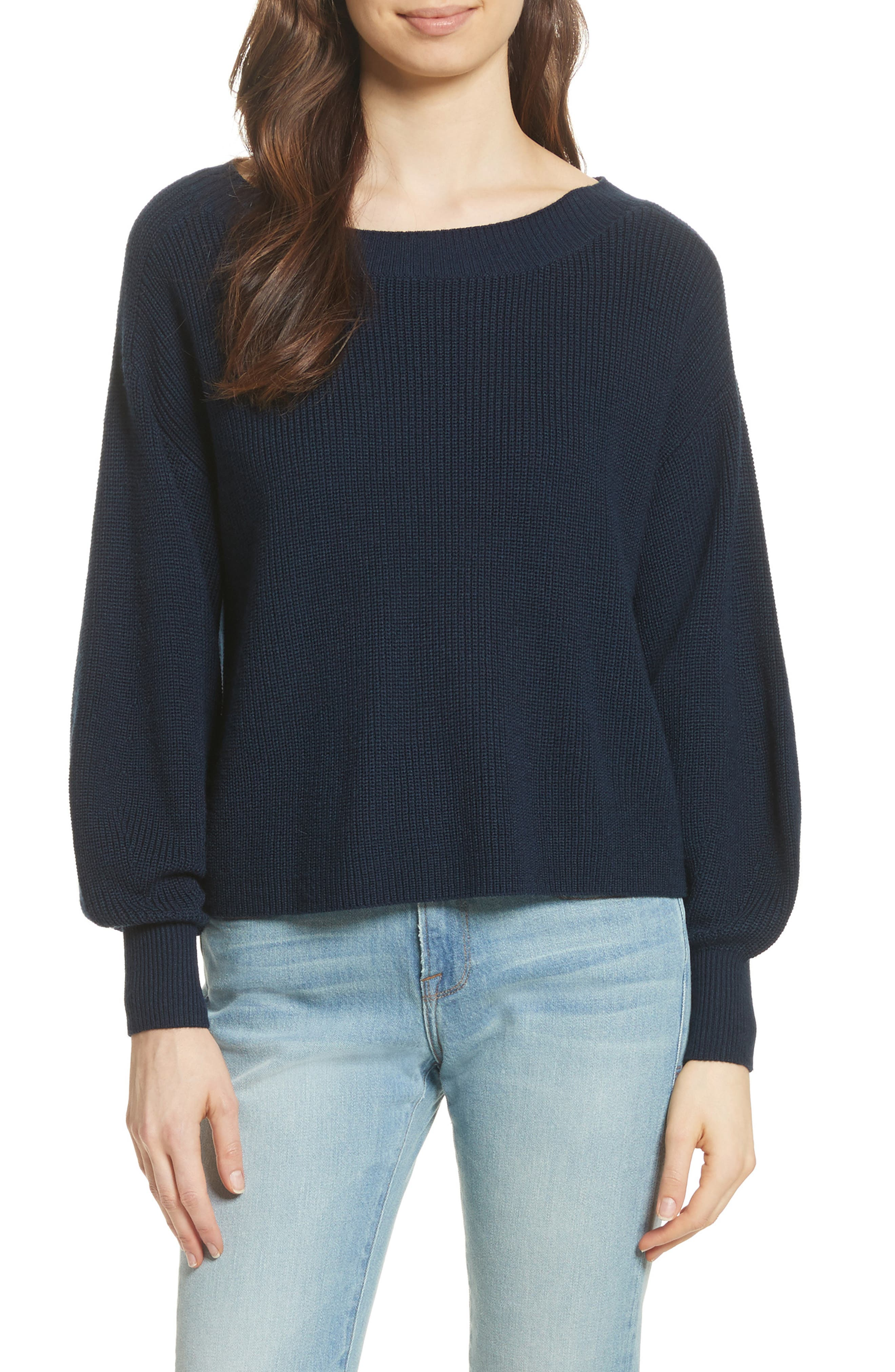 Bateau Neck Merino Wool Blend Sweater,                         Main,                         color, Dark Navy