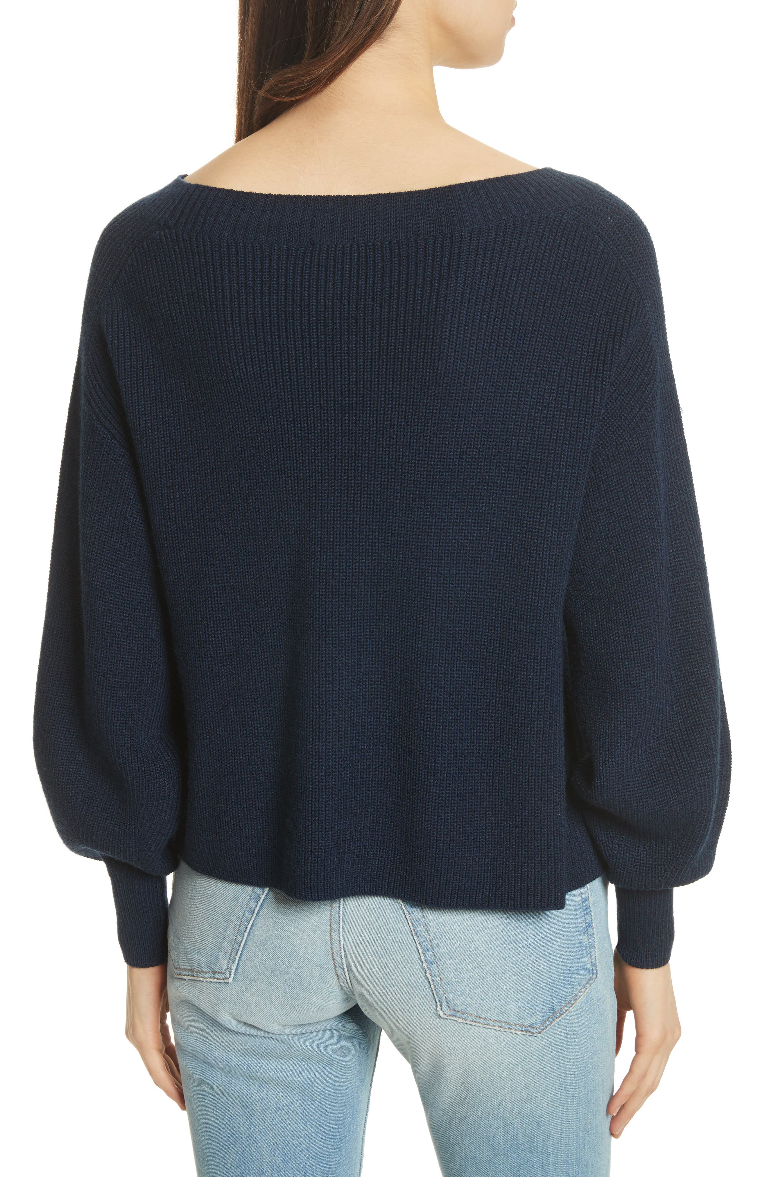 Bateau Neck Merino Wool Blend Sweater,                             Alternate thumbnail 3, color,                             Dark Navy