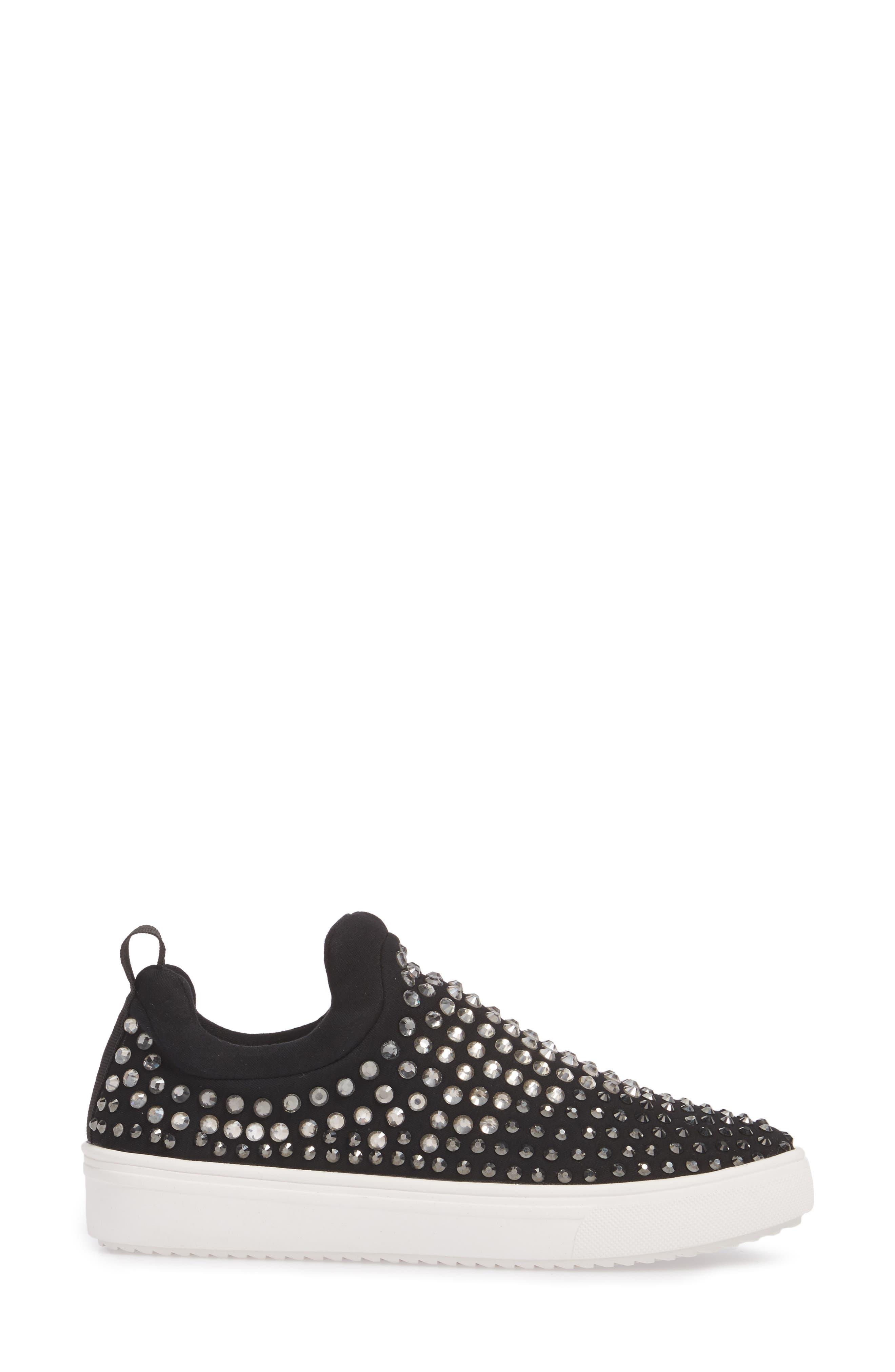 Sherry Crystal Embellished Sneaker,                             Alternate thumbnail 3, color,                             Black Multi Fabric