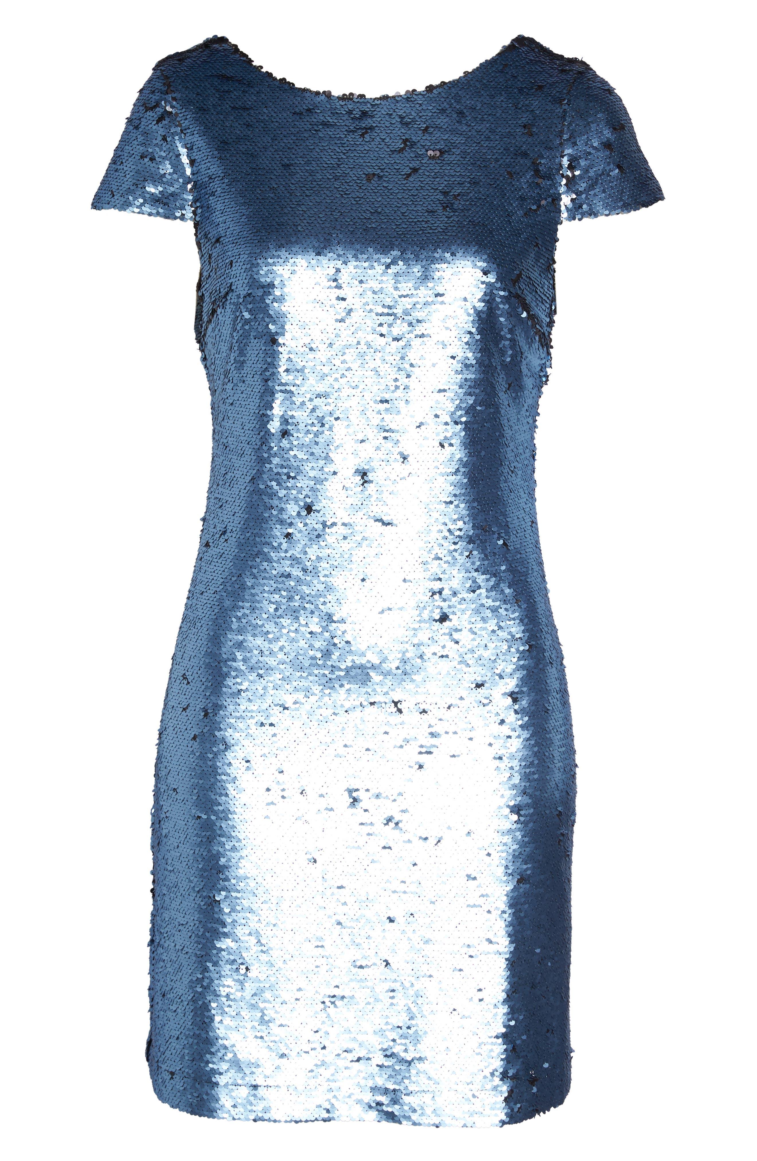 Sequin Sheath Dress,                             Alternate thumbnail 6, color,                             Blue