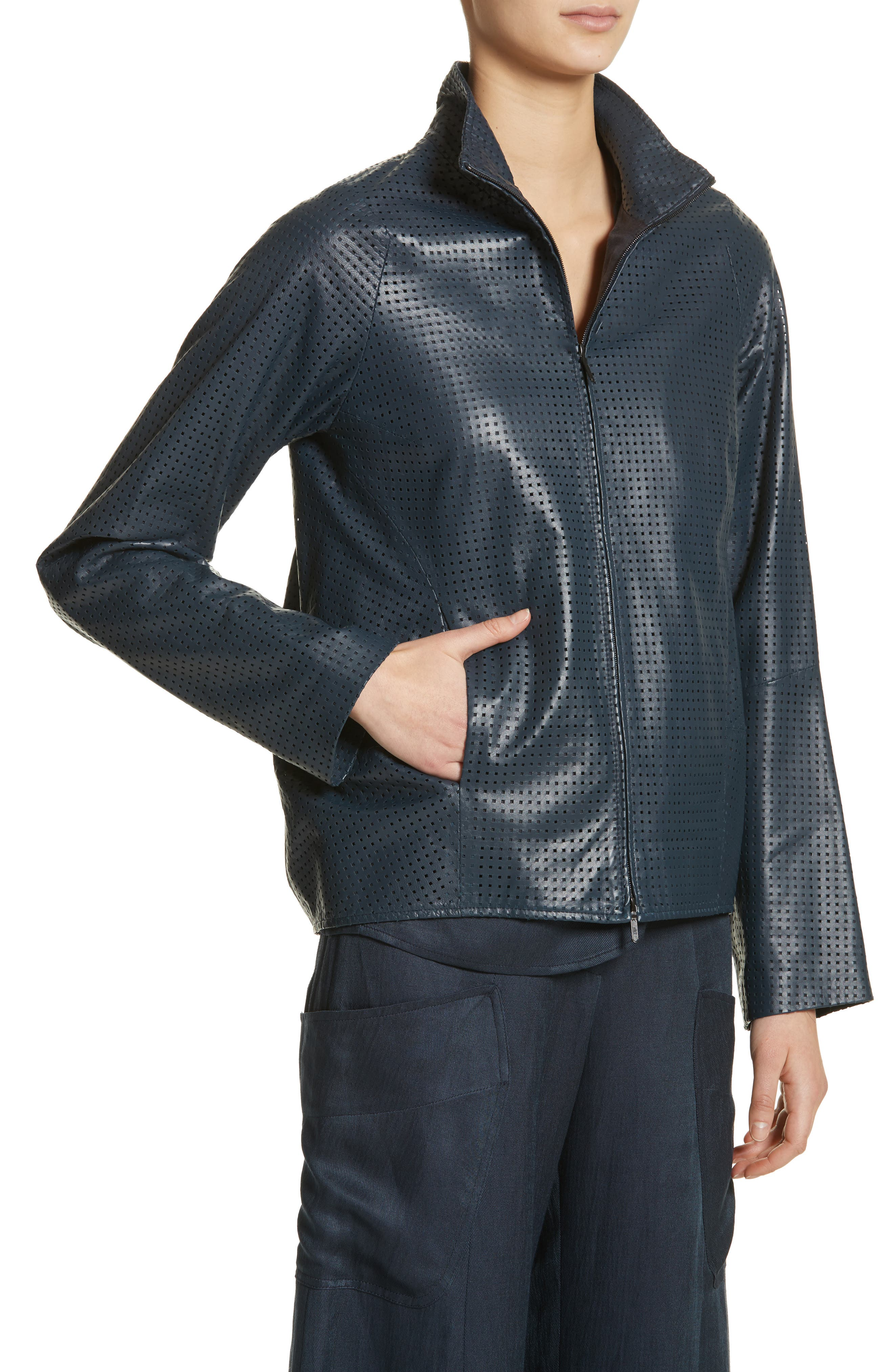 Perforated Nappa Leather Jacket,                             Alternate thumbnail 4, color,                             Ink Jet