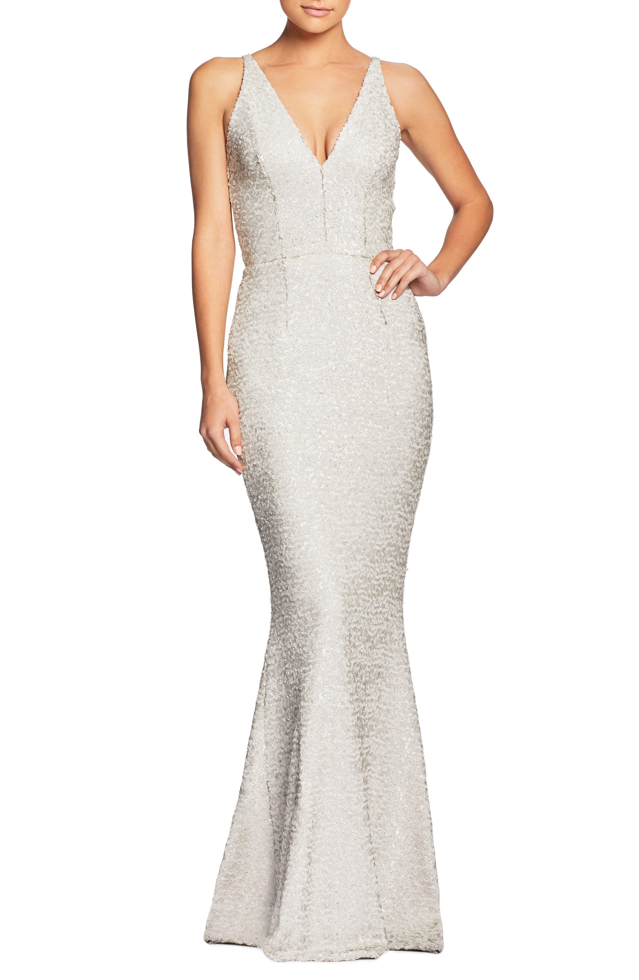 Harper Mermaid Gown, Main, color, Bone