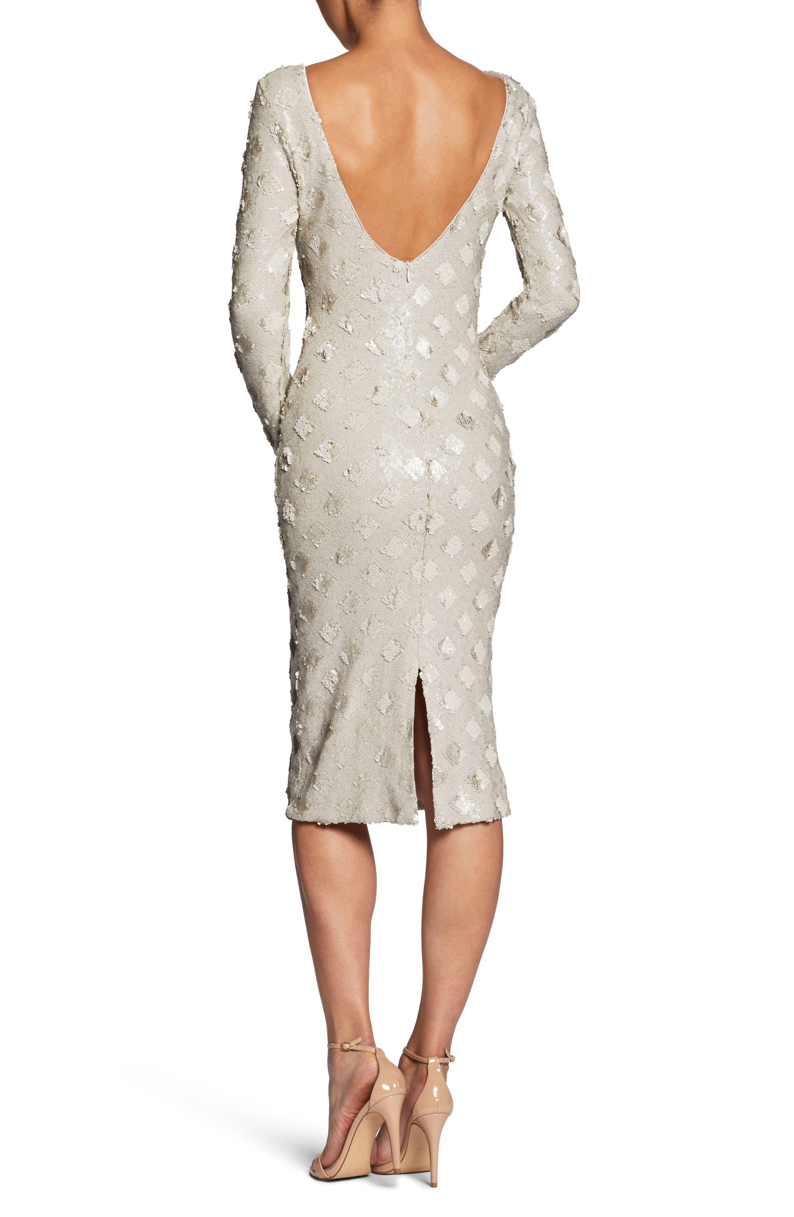 Emery Sequin Sheath Dress,                             Alternate thumbnail 3, color,                             Bone