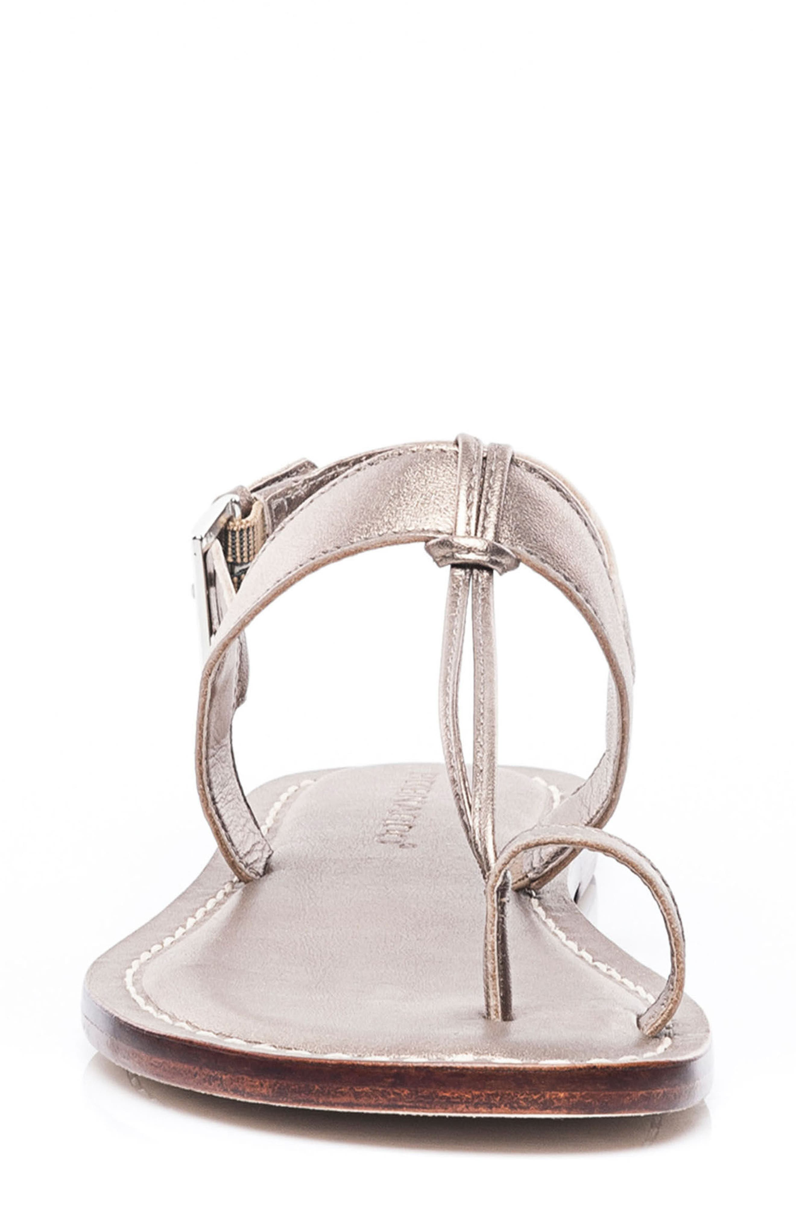 Bernardo Maverick Leather Sandal,                             Alternate thumbnail 4, color,                             Platinum Leather
