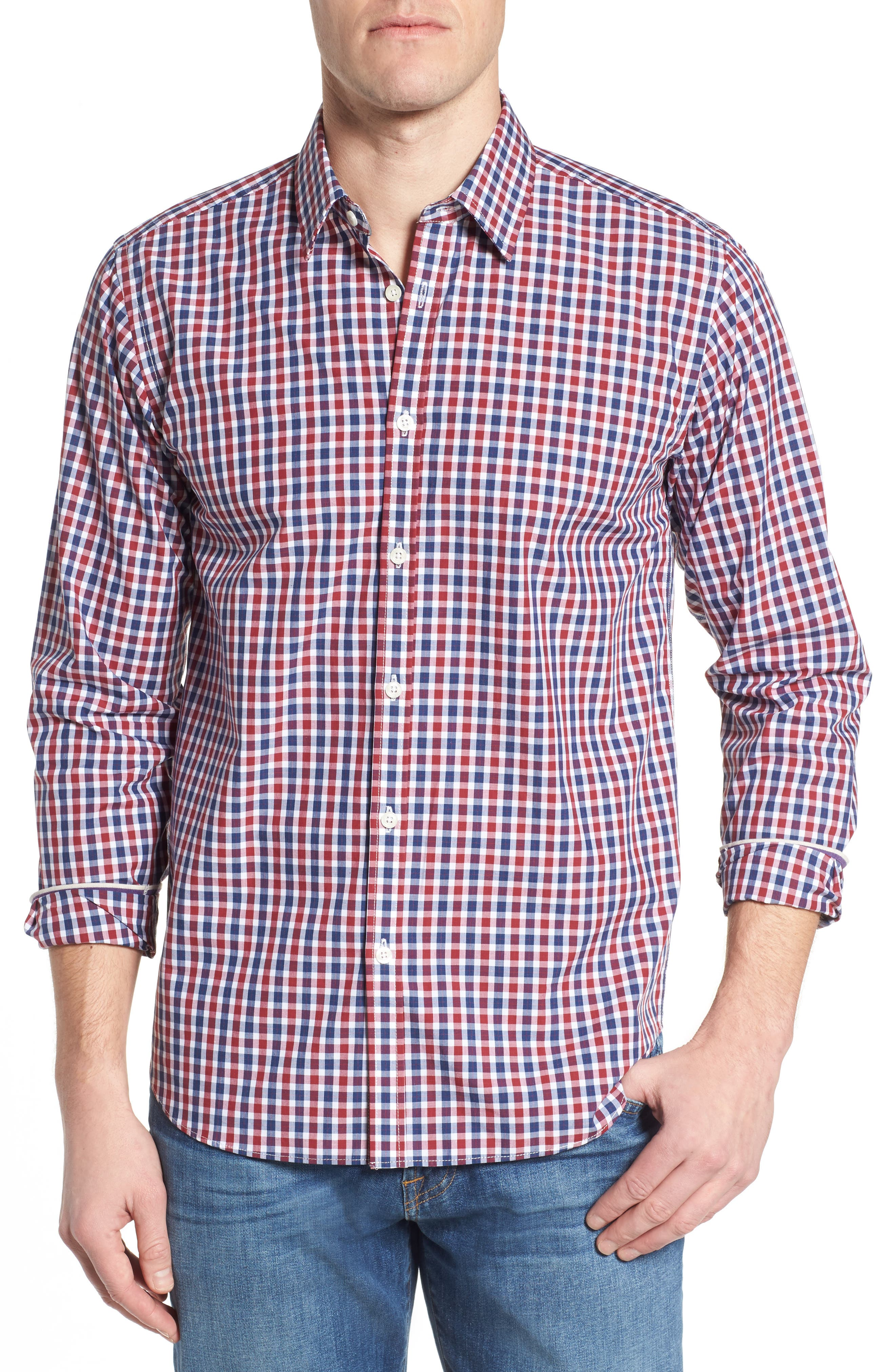 Slim Fit Check Sport Shirt,                             Main thumbnail 1, color,                             Bright Red
