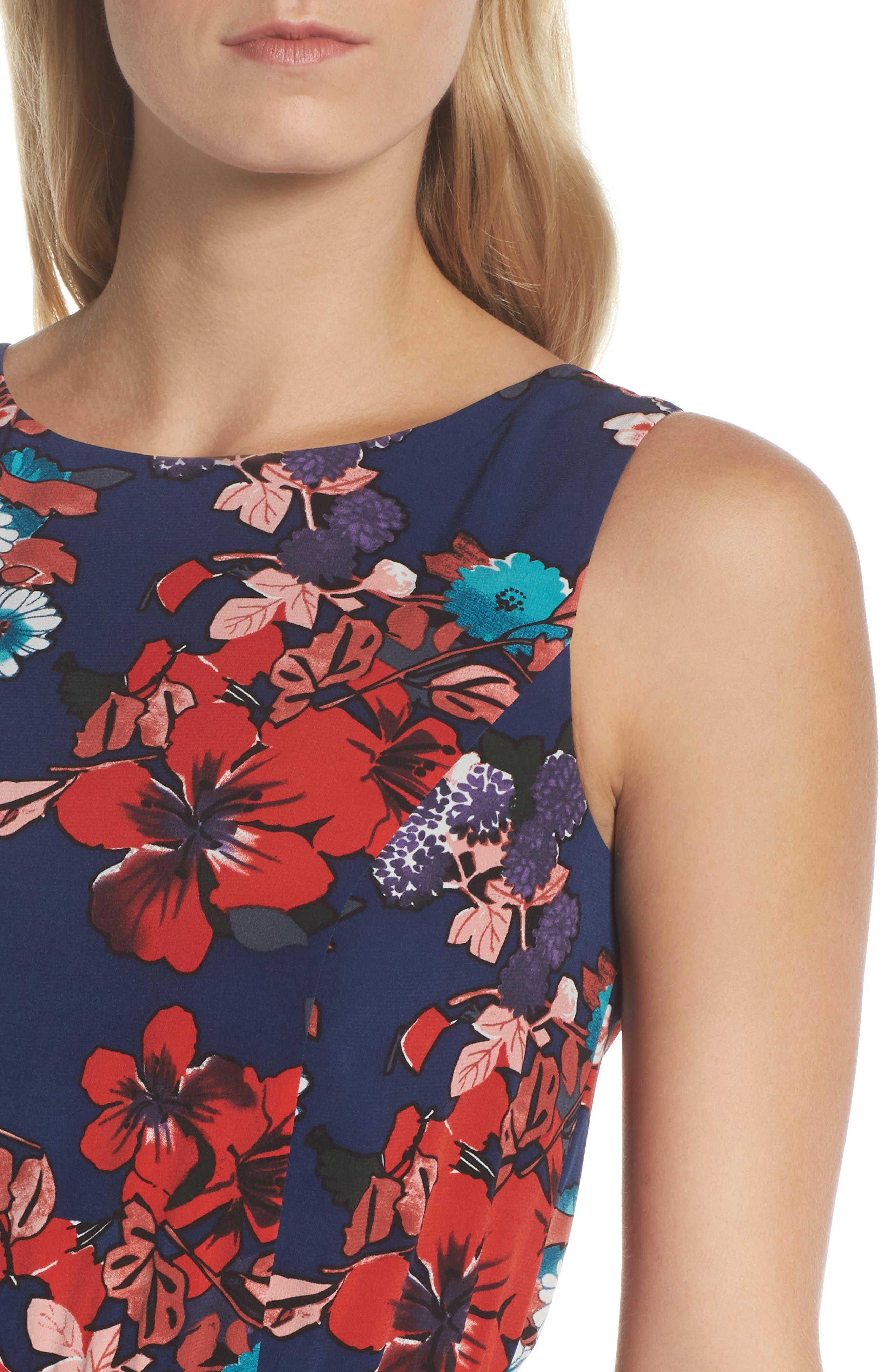 Botanical Soiree Fit & Flare Dress,                             Alternate thumbnail 4, color,                             Blue Multi