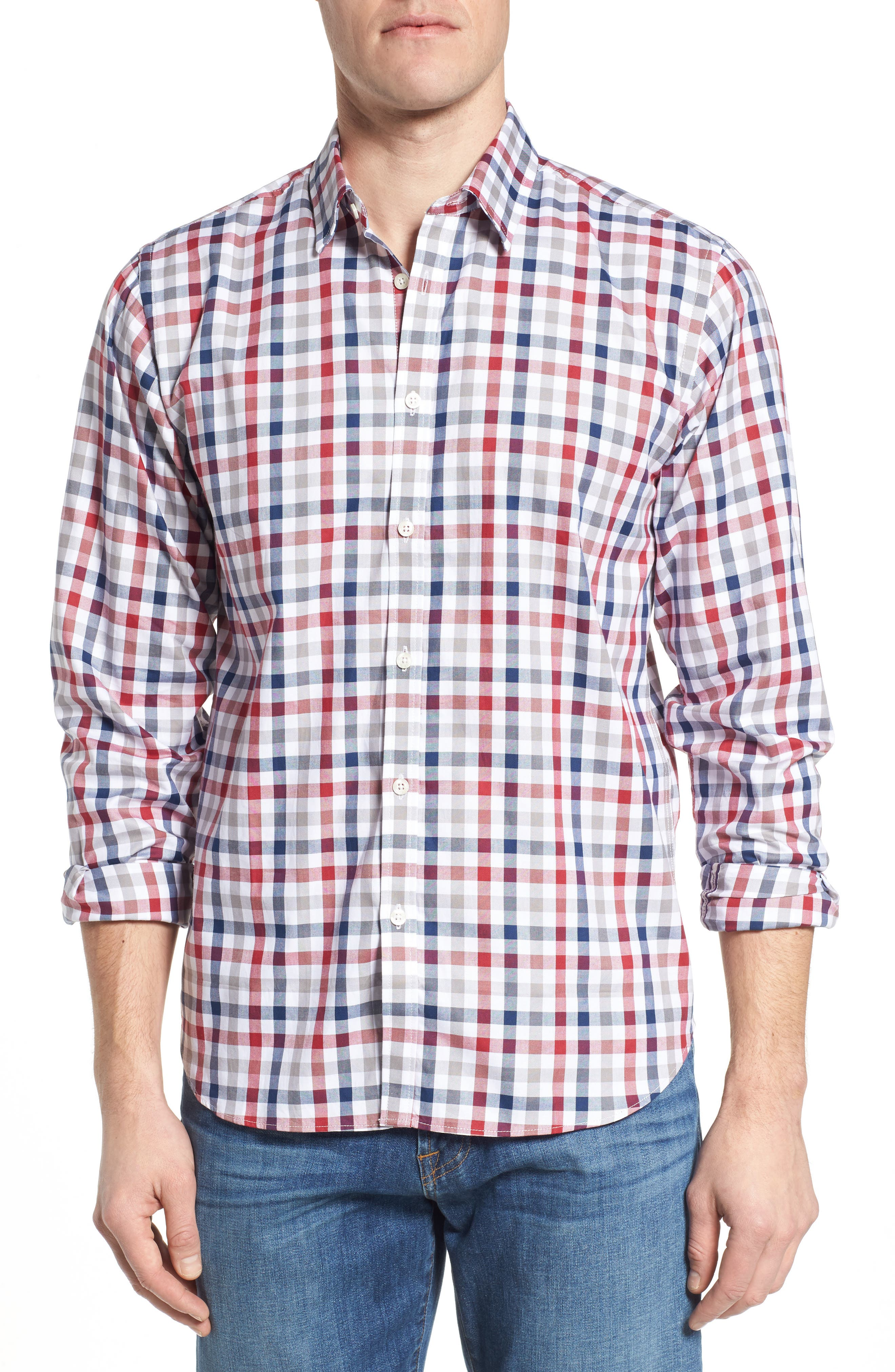 Fitted Check Sport Shirt,                         Main,                         color, Medium Red
