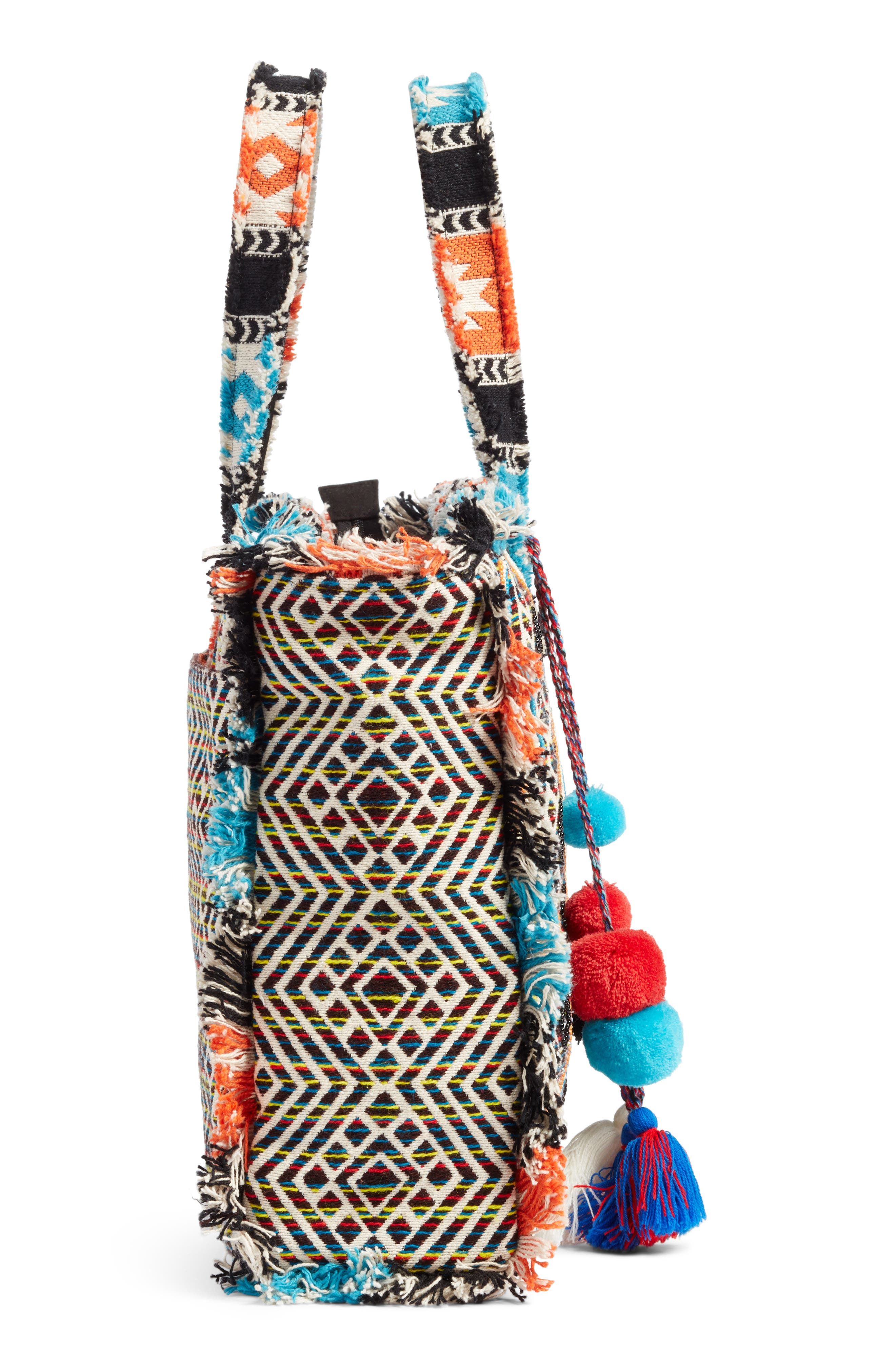 Resort Embroidered Tote,                             Alternate thumbnail 3, color,                             Blue Multi
