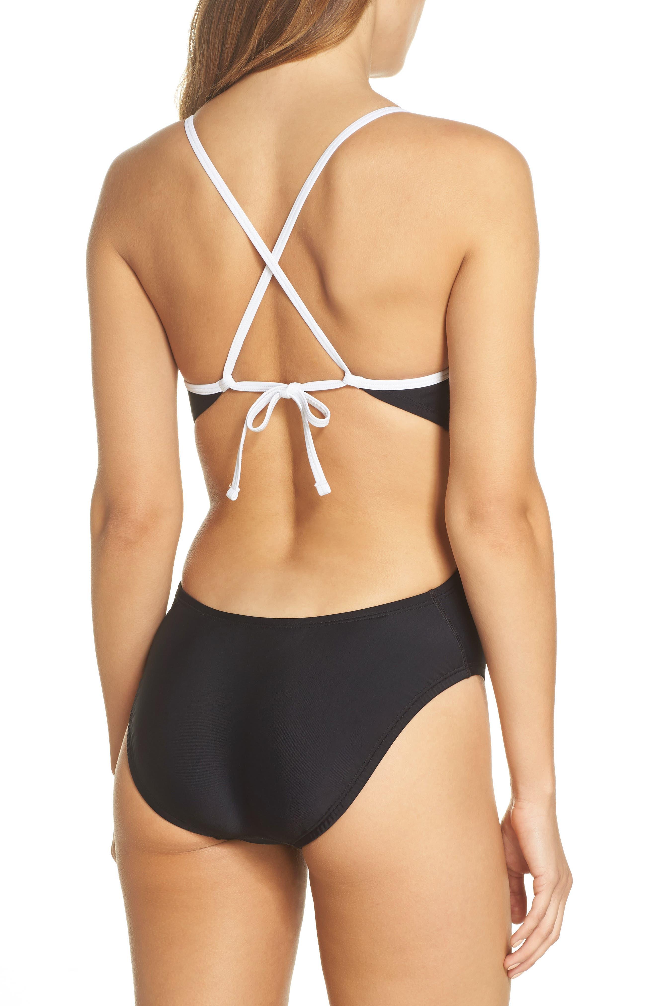 Crossback Cutout One-Piece Swimsuit,                             Alternate thumbnail 2, color,                             Black