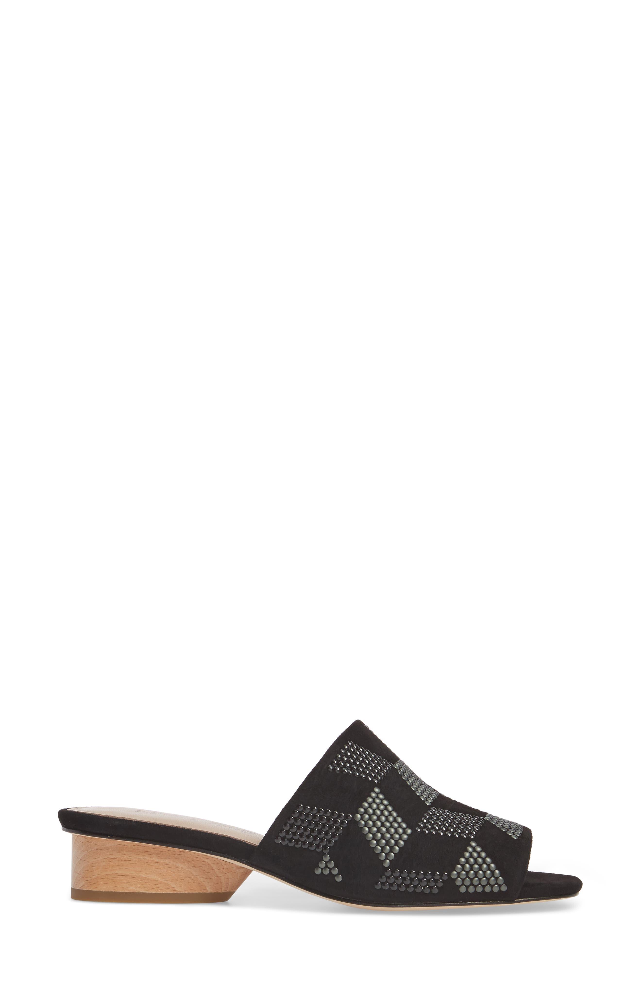 Rimini Slide Sandal,                             Alternate thumbnail 3, color,                             Black Suede
