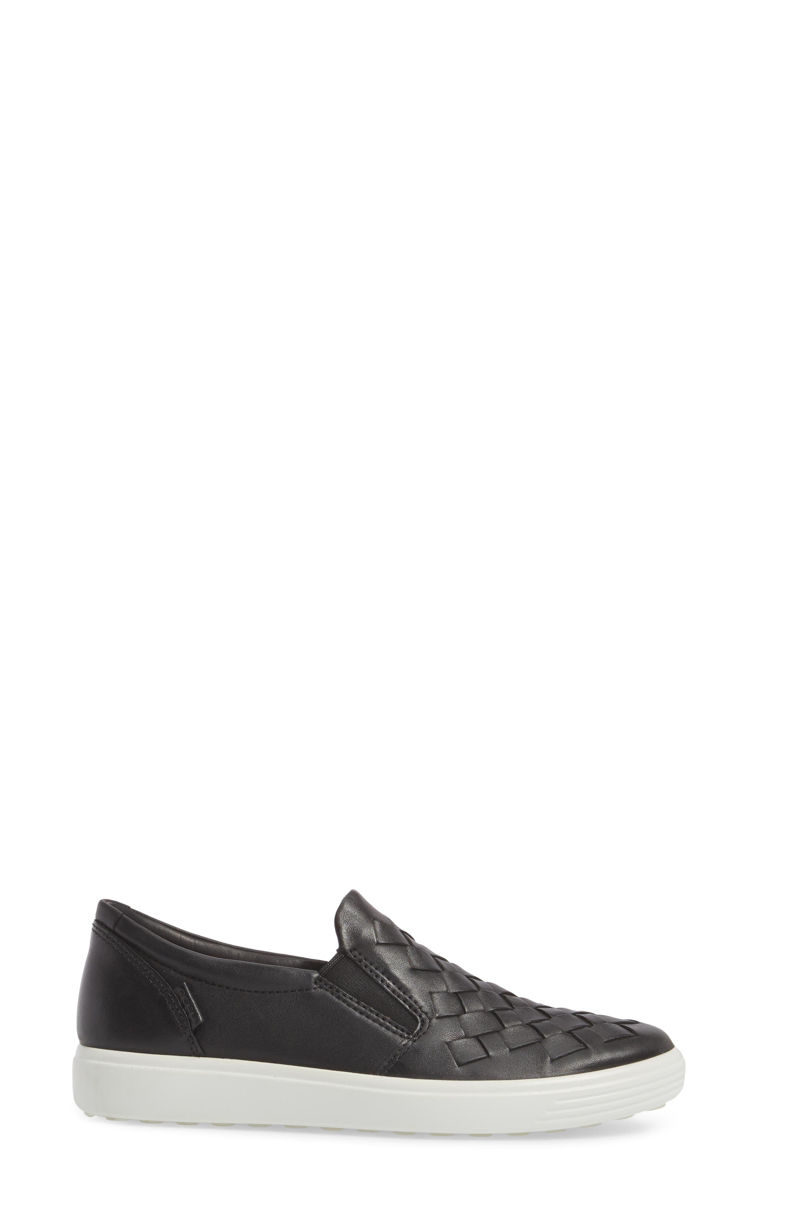ECO Soft 7 Woven Slip-On Sneaker,                             Alternate thumbnail 3, color,                             Black Leather