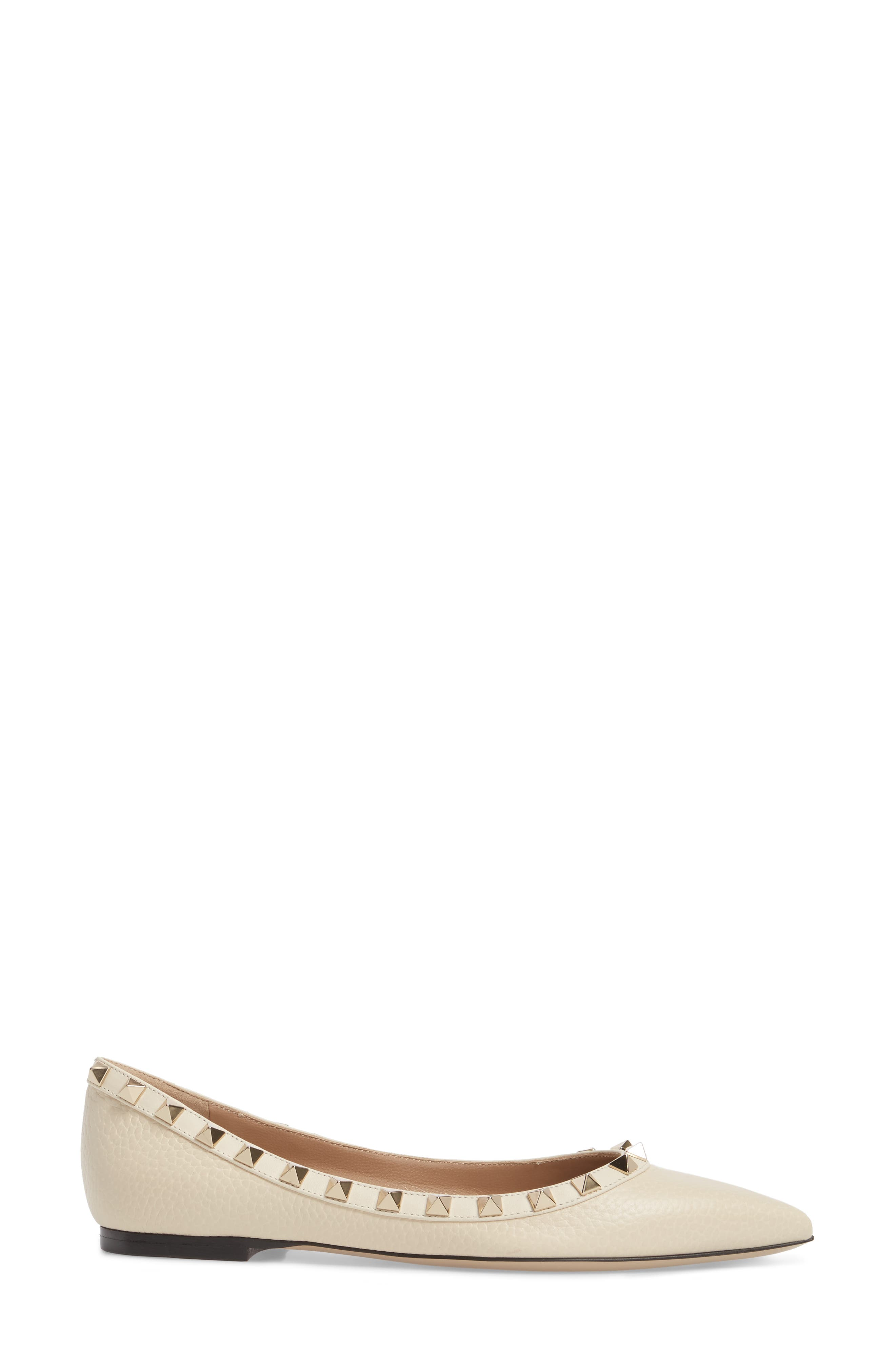 Rockstud Pointy Toe Flat,                             Alternate thumbnail 3, color,                             Light Ivory
