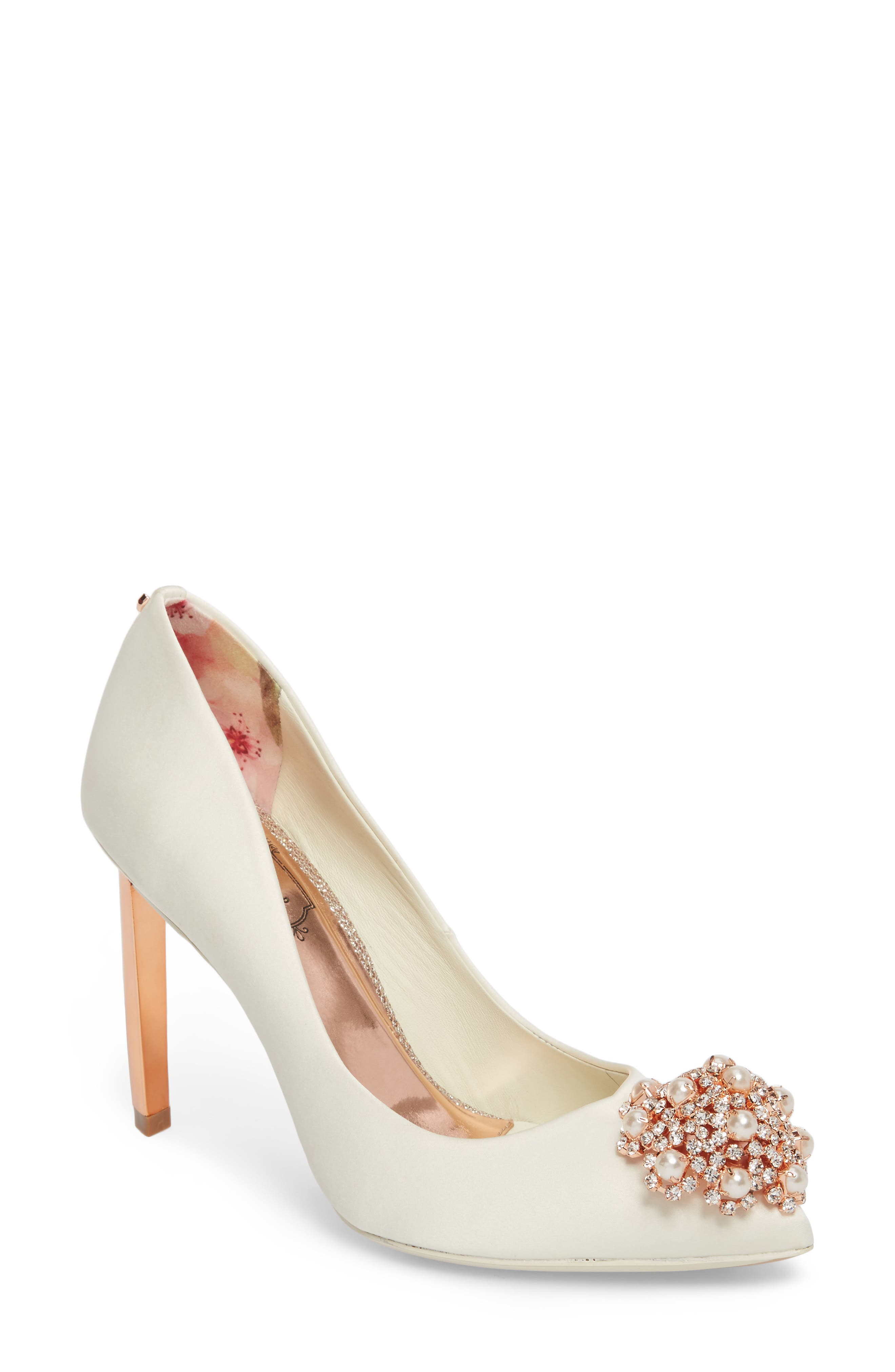 'Peetch' Pointy Toe Pump,                         Main,                         color, Ivory Satin