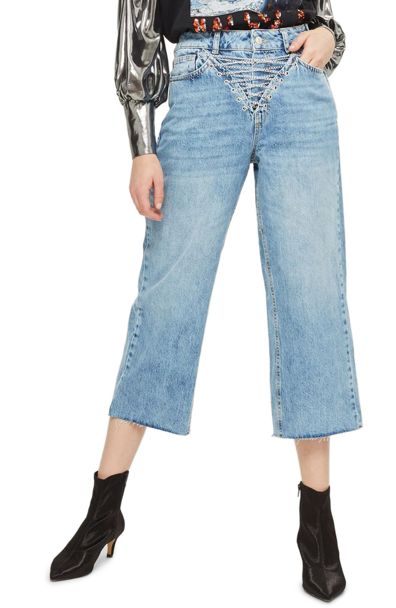 Chain Fly Wide Leg Crop Jeans,                         Main,                         color, Mid Denim