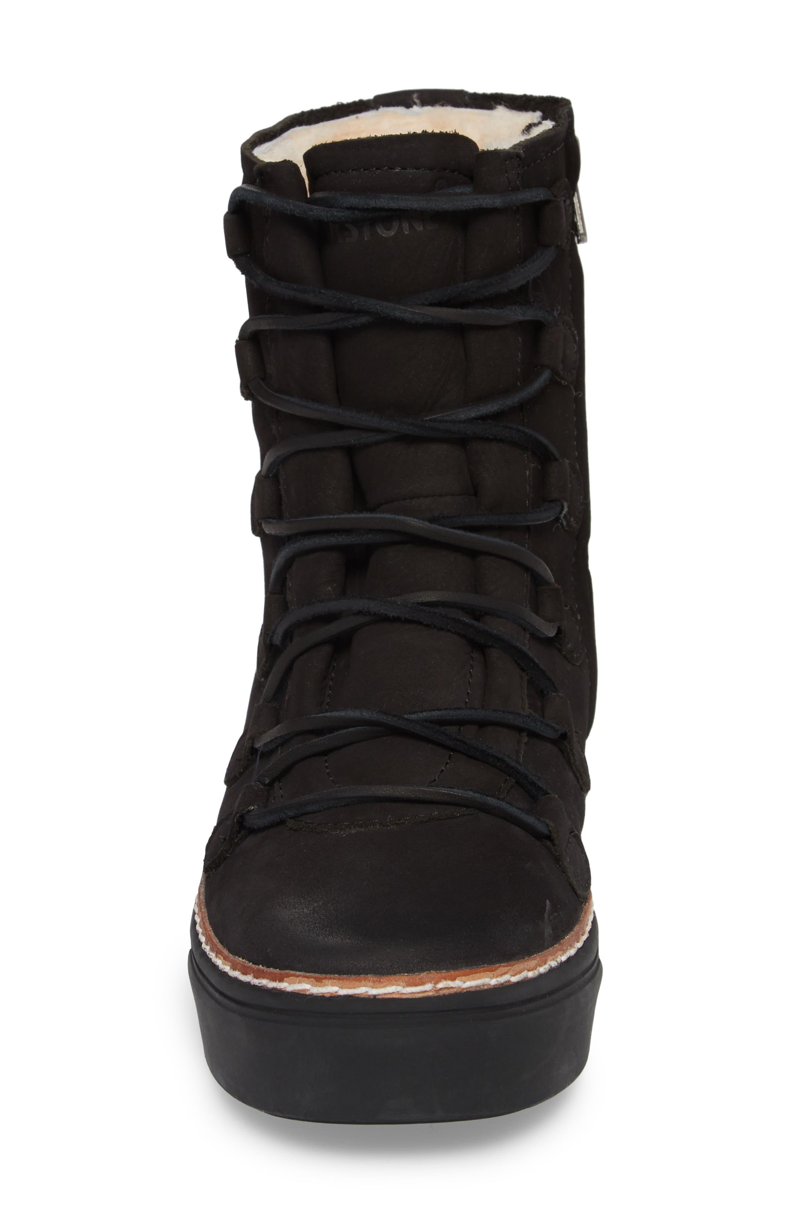 OL26 Genuine Shearling Lined Lace-Up Bootie,                             Alternate thumbnail 4, color,                             Black Nubuck Leather
