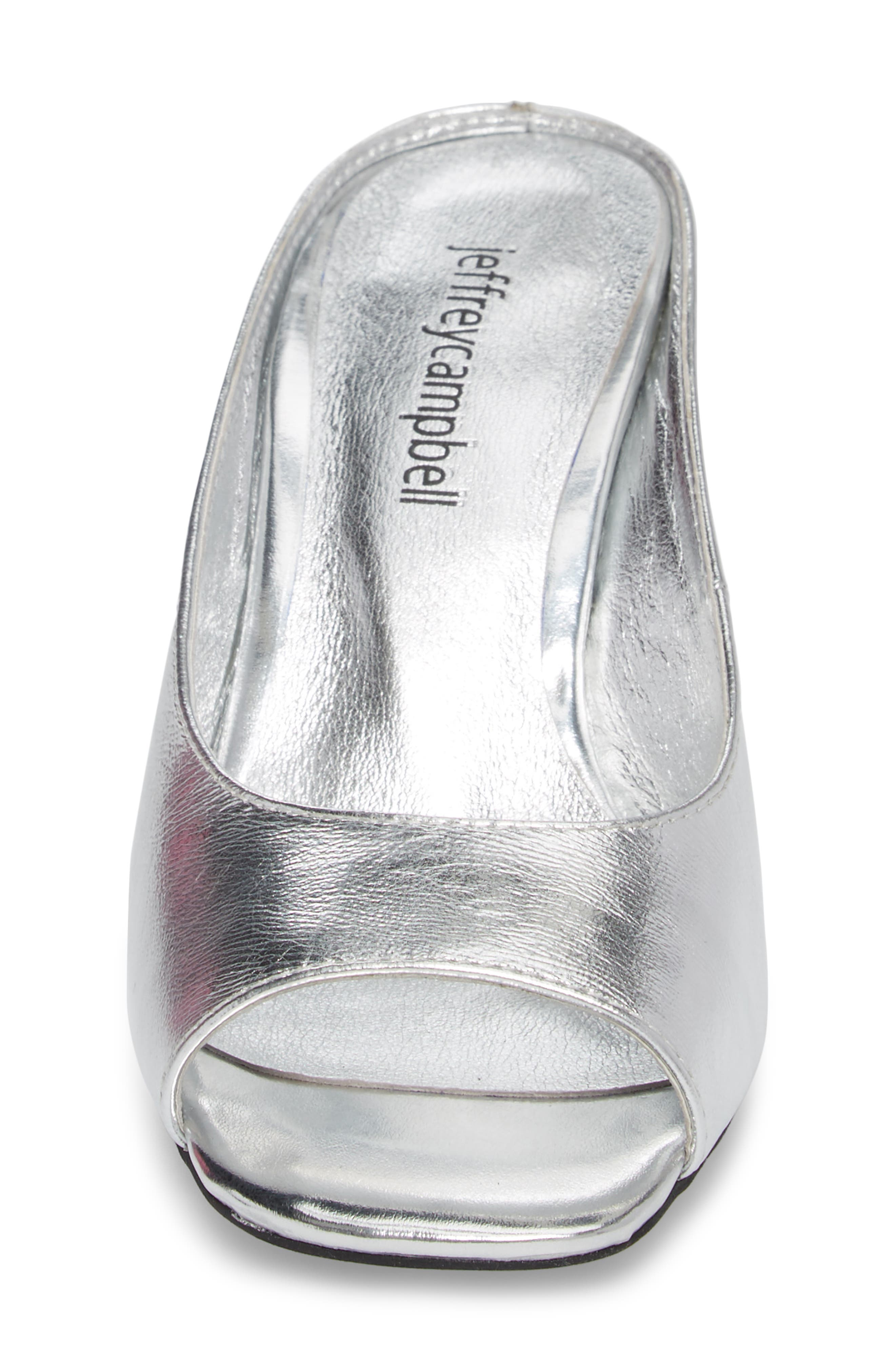 Generous Wedge Sandal,                             Alternate thumbnail 4, color,                             Silver Leather