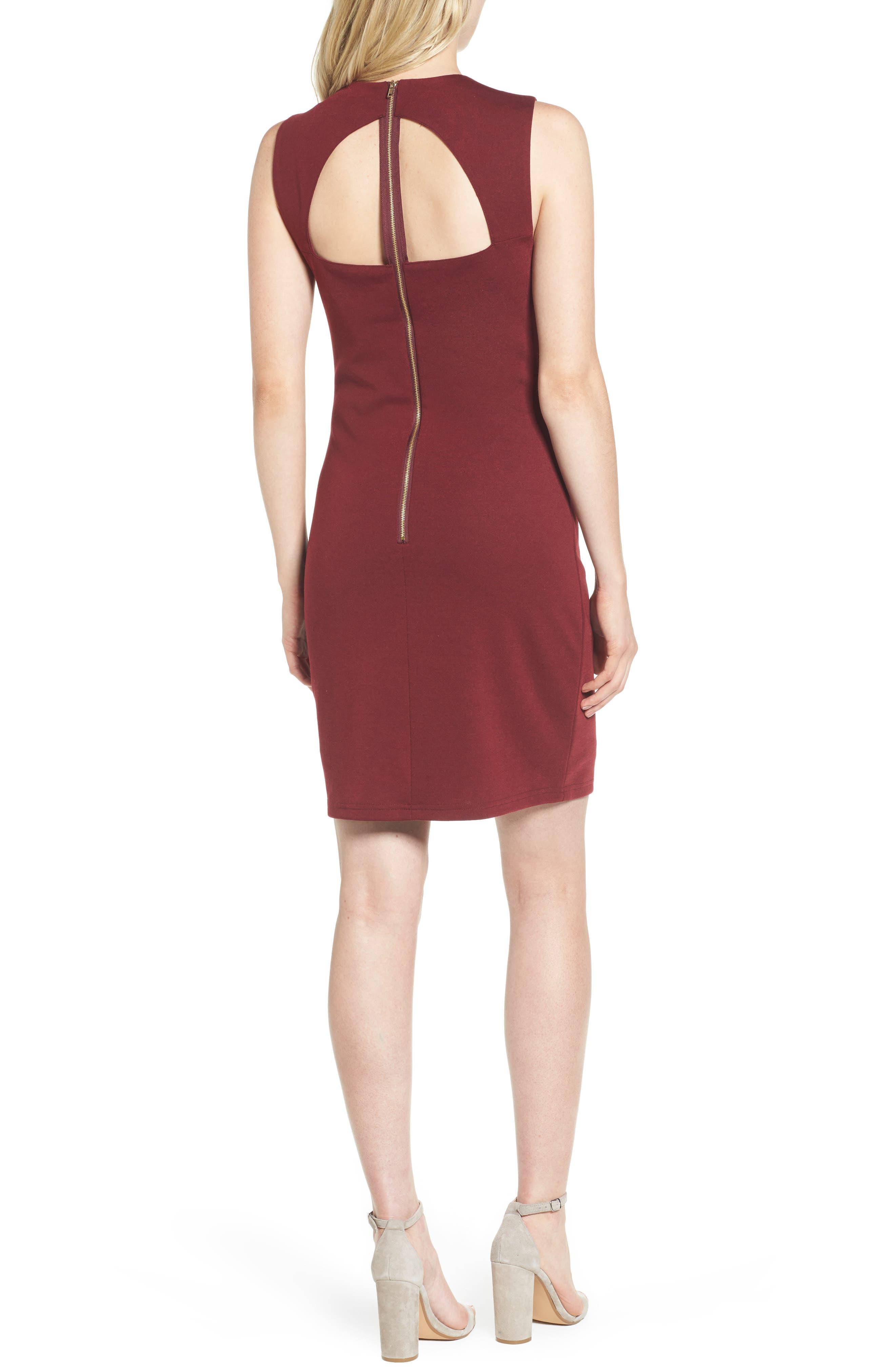 Bishop + Young Ponte Knit Sheath Dress,                             Alternate thumbnail 2, color,                             Burgundy
