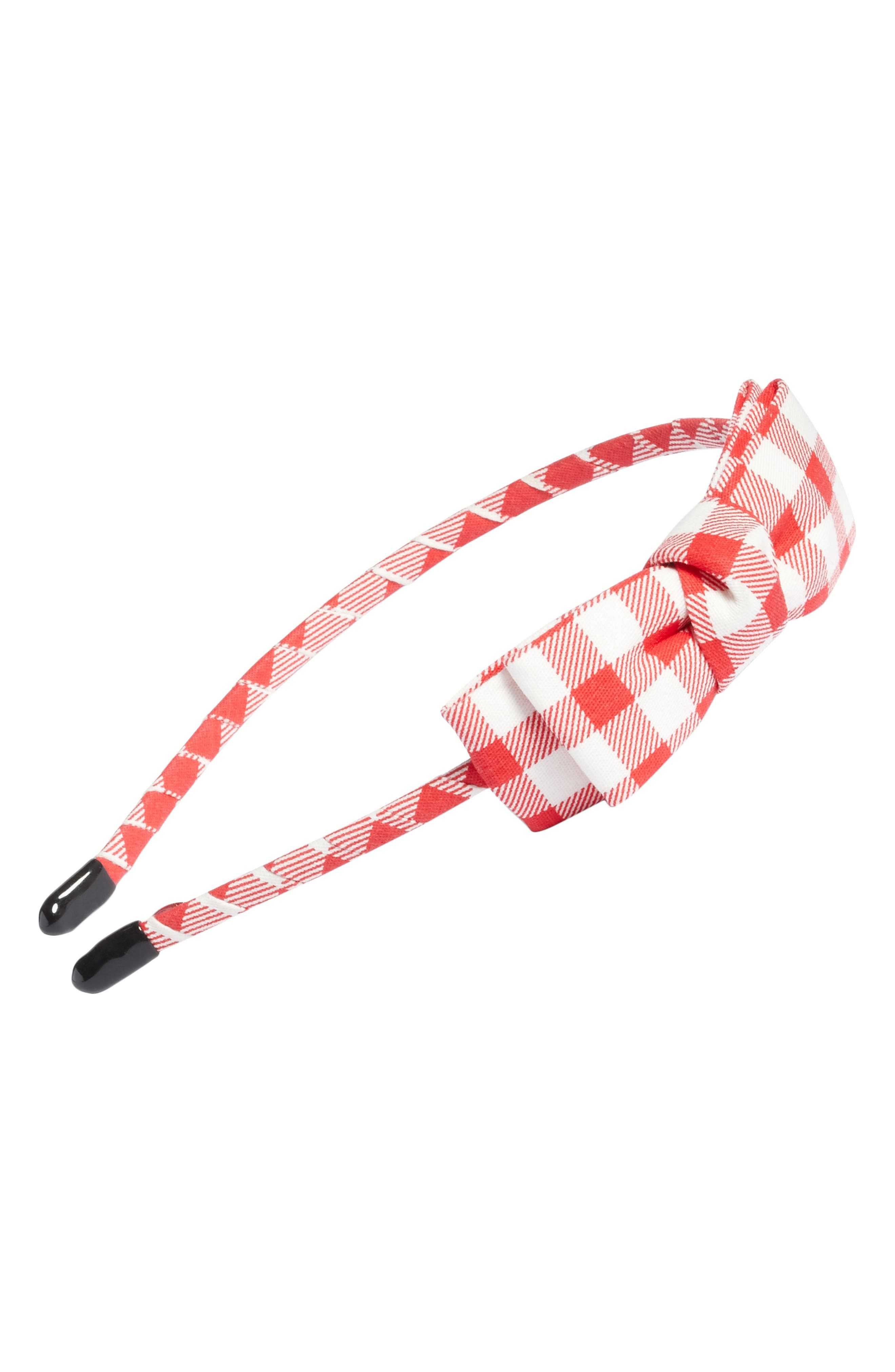 Gingham Bow Headband,                         Main,                         color, Red