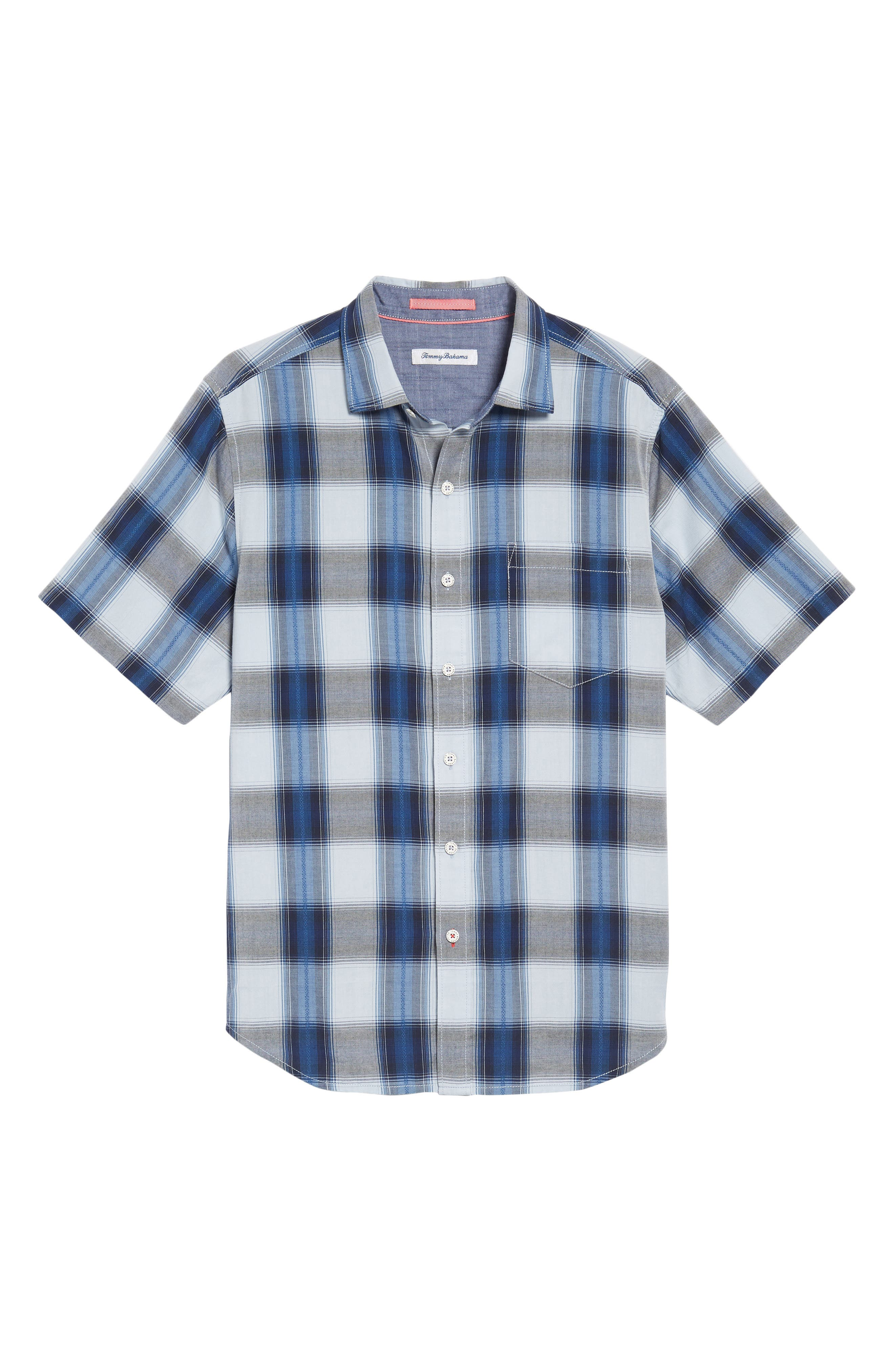 Biscayne Plaid Regular Fit Sport Shirt,                             Alternate thumbnail 6, color,                             Kingdom Blue