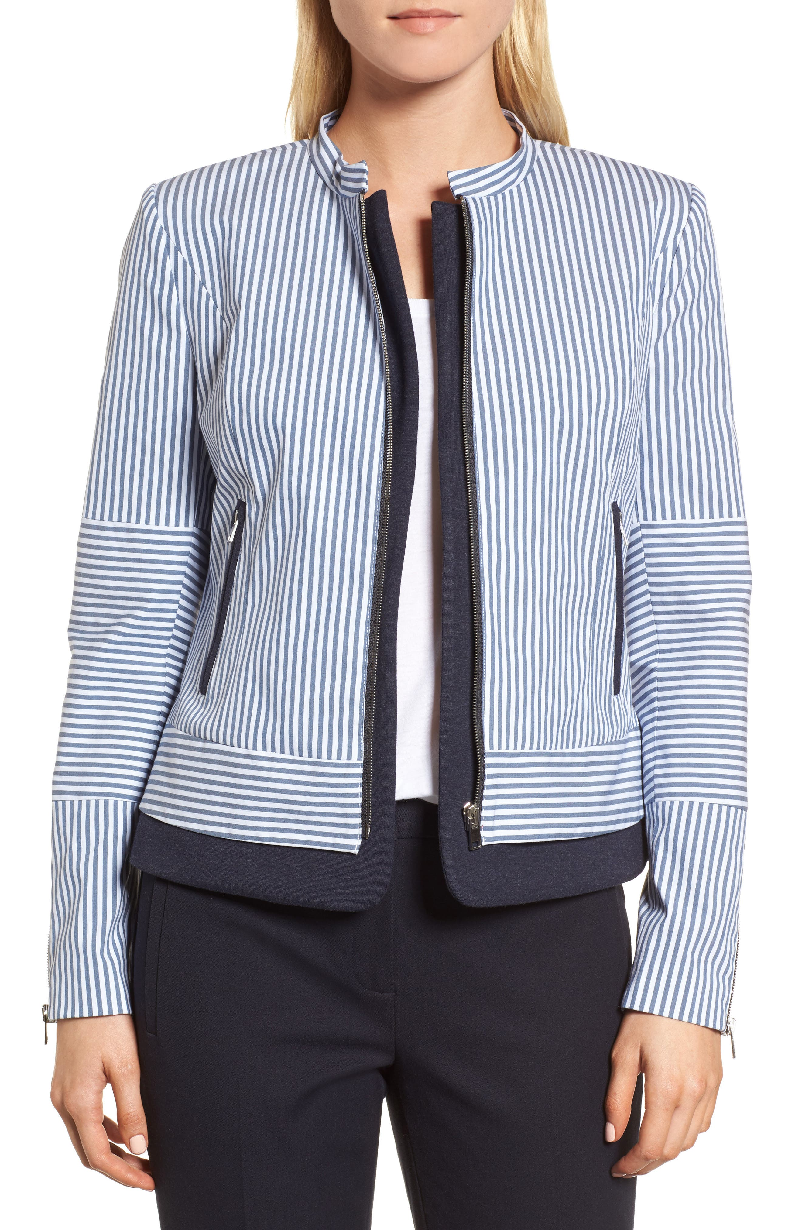Stripe Jacket,                         Main,                         color, Navy Dusk- White Stripe