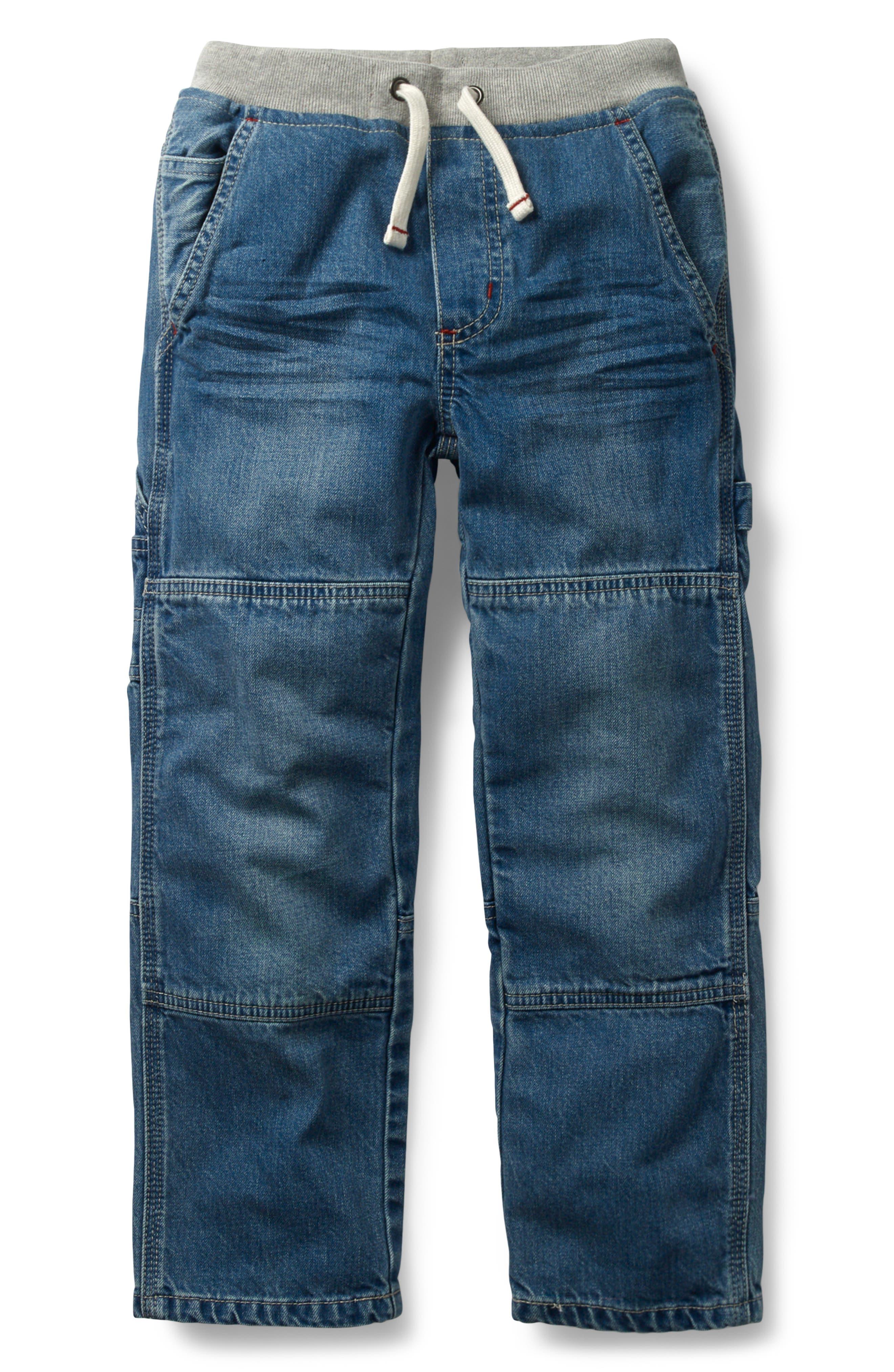 Rib Waist Carpenter Jeans,                         Main,                         color, Light Vintage