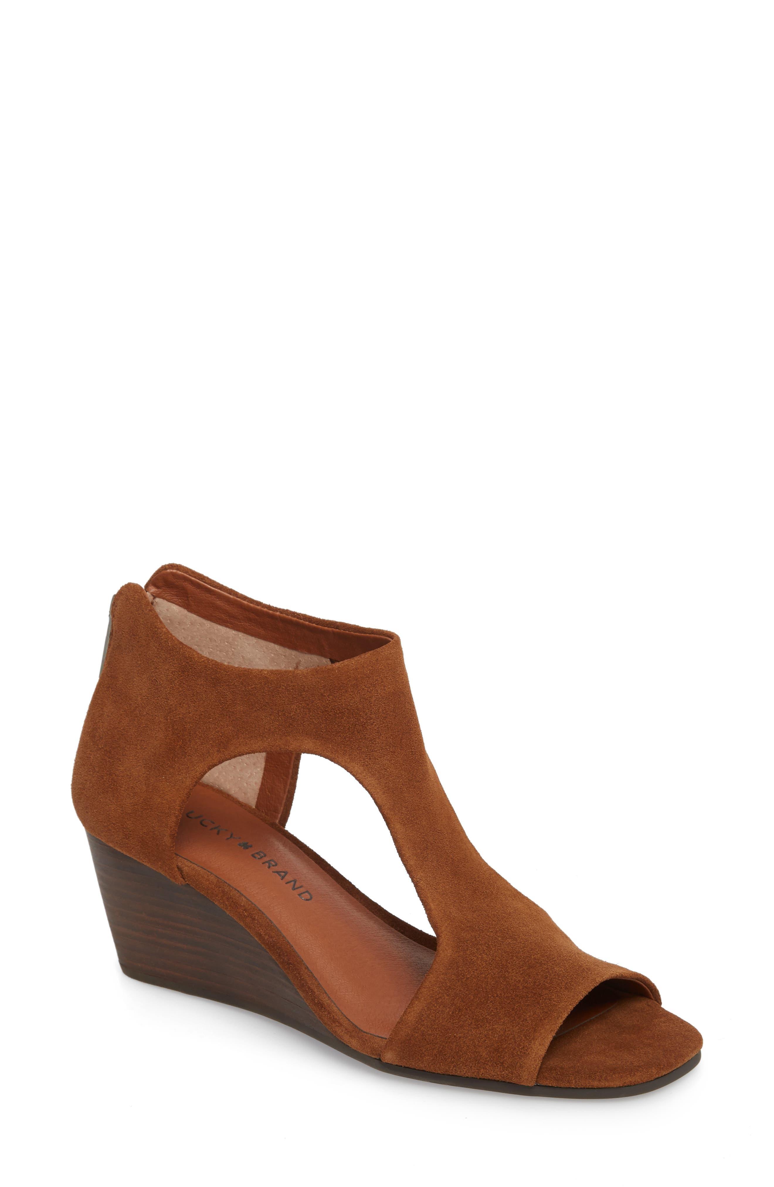 Tehirr Wedge Sandal,                         Main,                         color, Cedar Suede