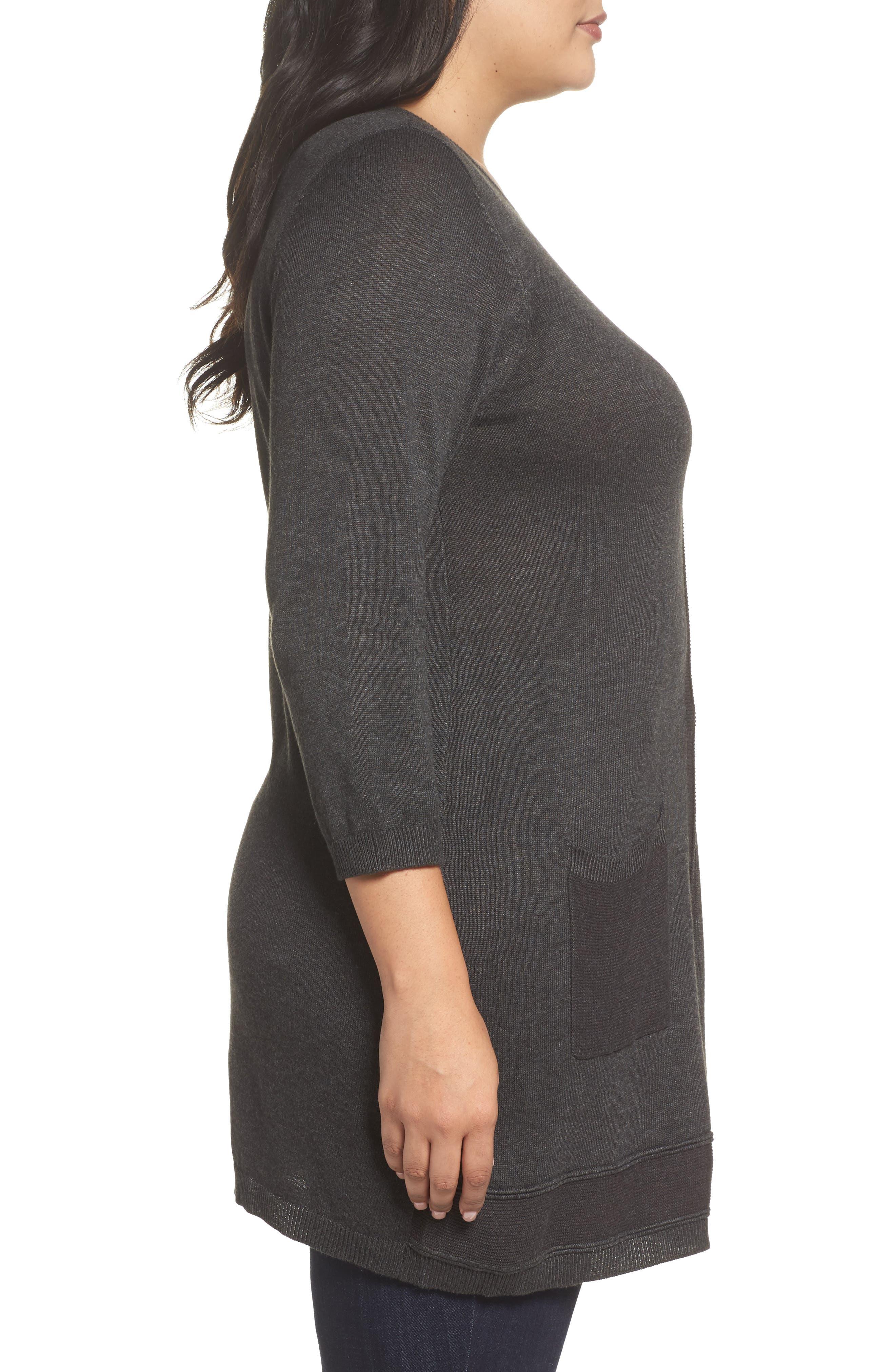 Pocket Tunic Sweater,                             Alternate thumbnail 3, color,                             Grey