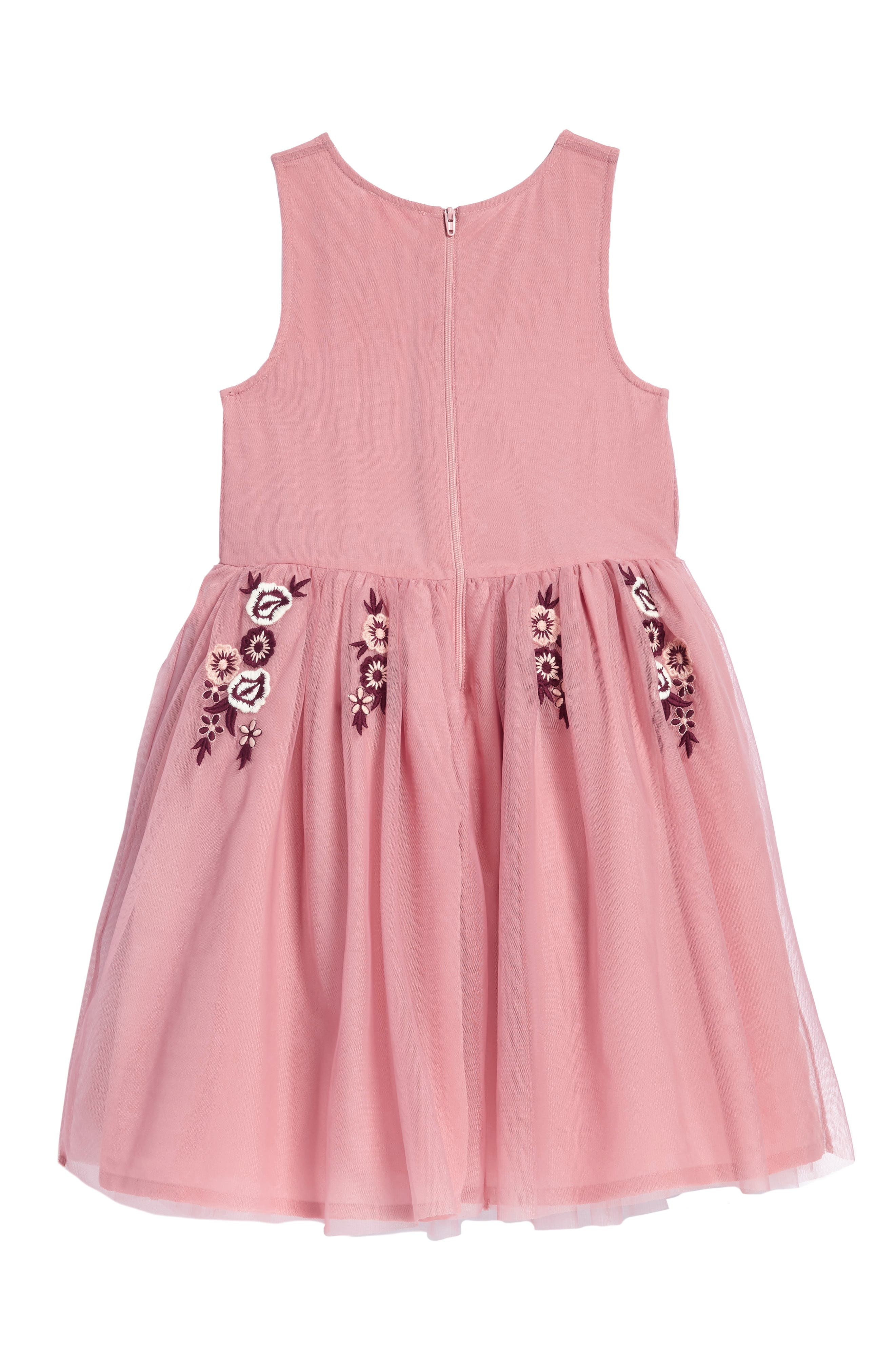 Flower Embroidered Dress,                             Alternate thumbnail 2, color,                             Pink Nostalgia