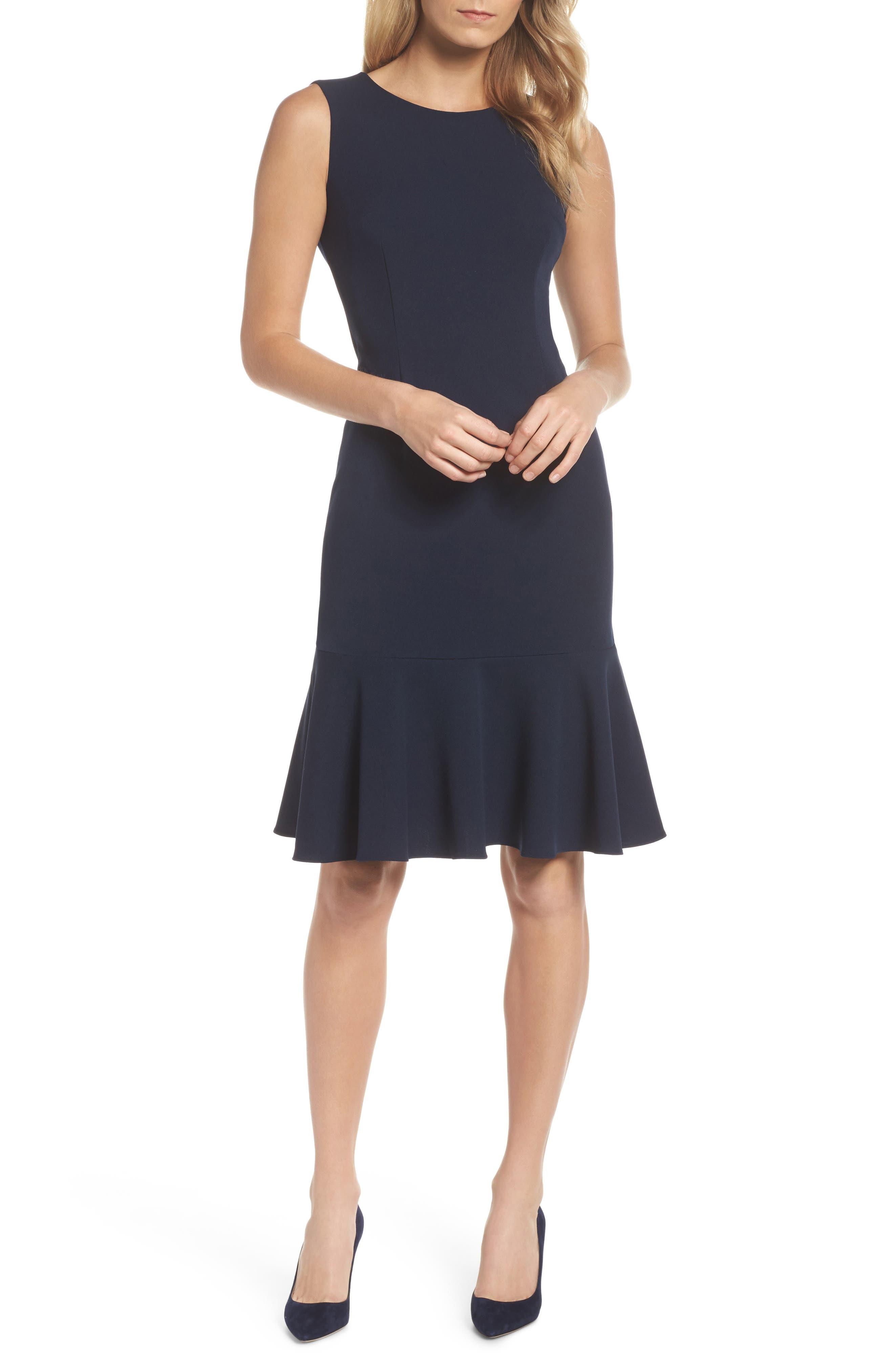 Knit Crepe Sheath Dress,                             Main thumbnail 1, color,                             Blue Moon