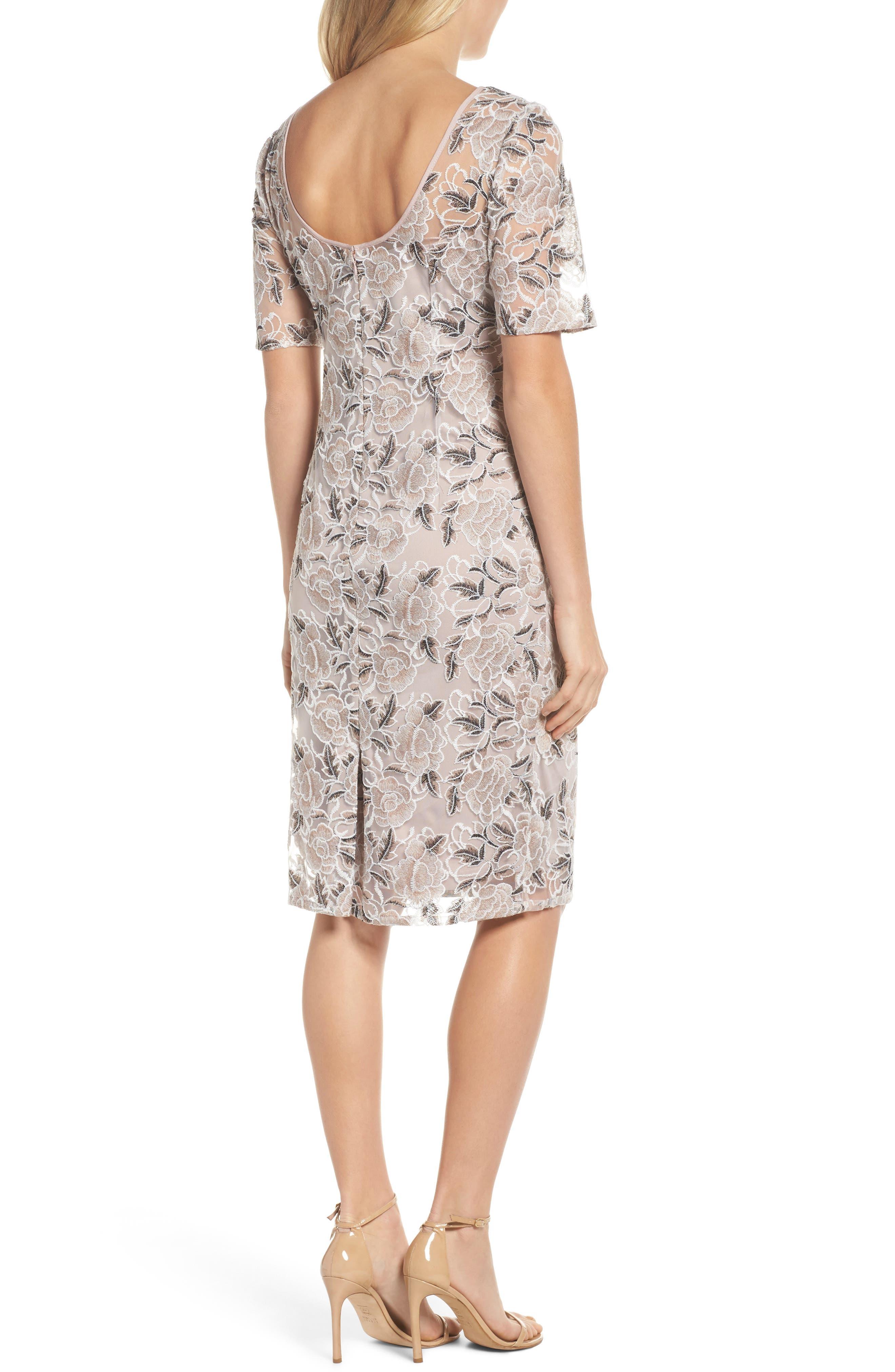 Alternate Image 2  - Adrianna Papell Suzette Embroidered Sheath Dress (Regular & Petite)