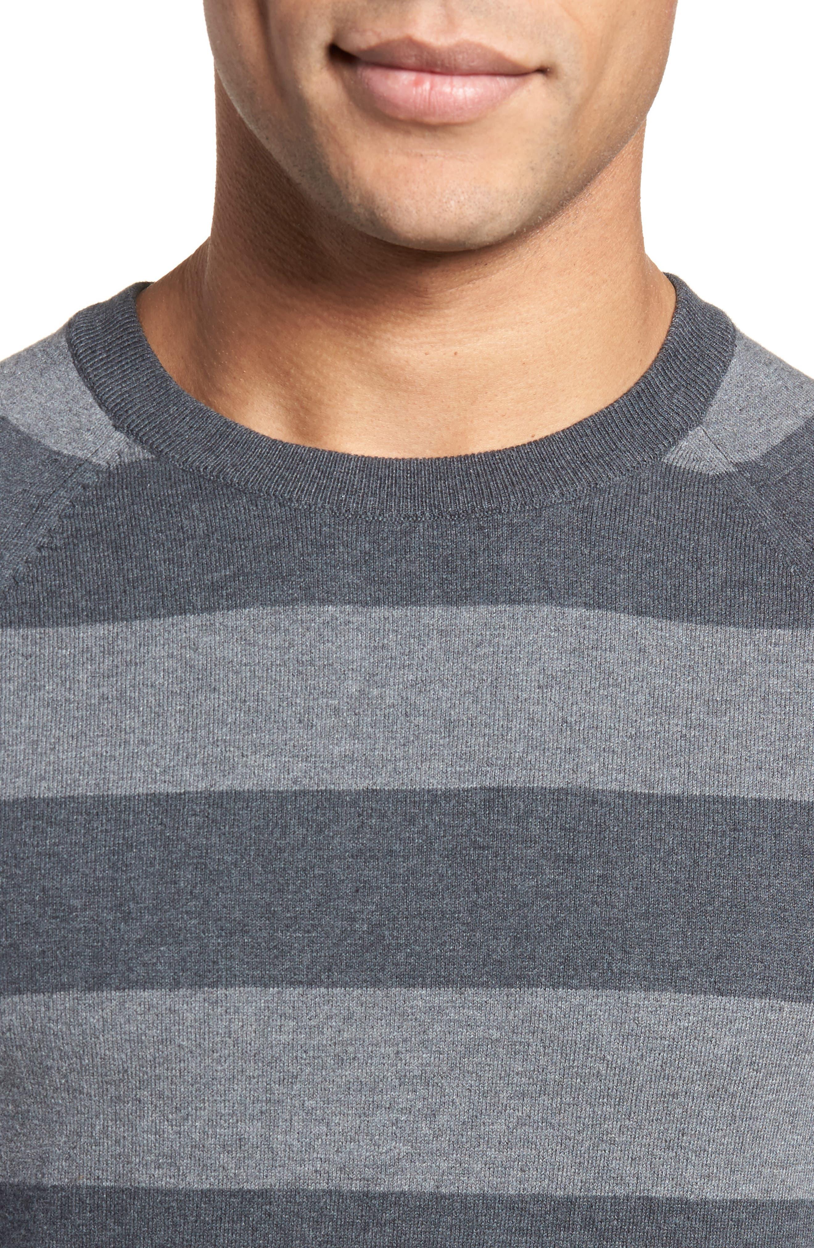 Stripe Stretch Cotton Sweater,                             Alternate thumbnail 4, color,                             Mid Grey/ Charcoal Melange