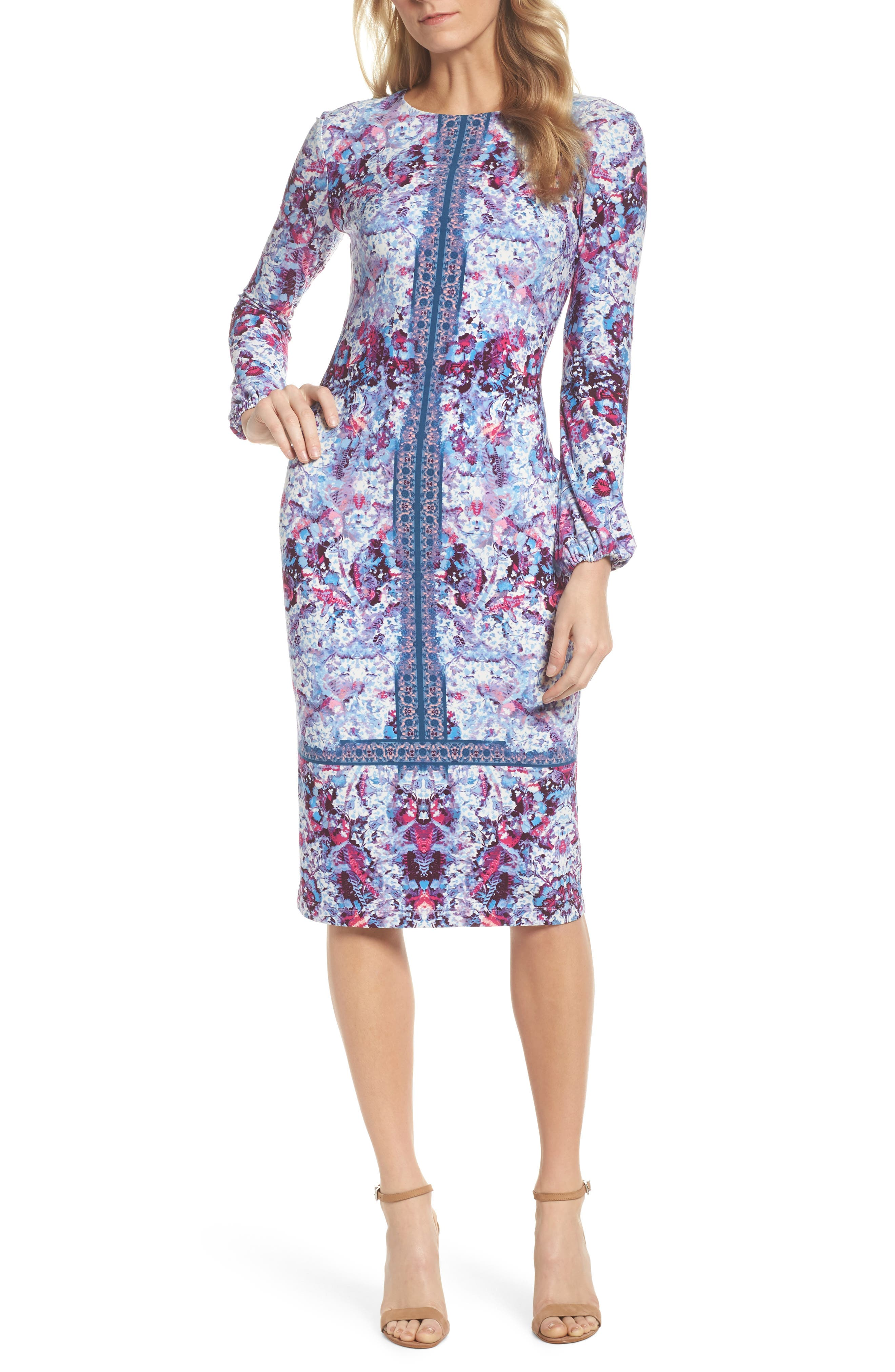 Midi Sheath Dress,                         Main,                         color, Rose
