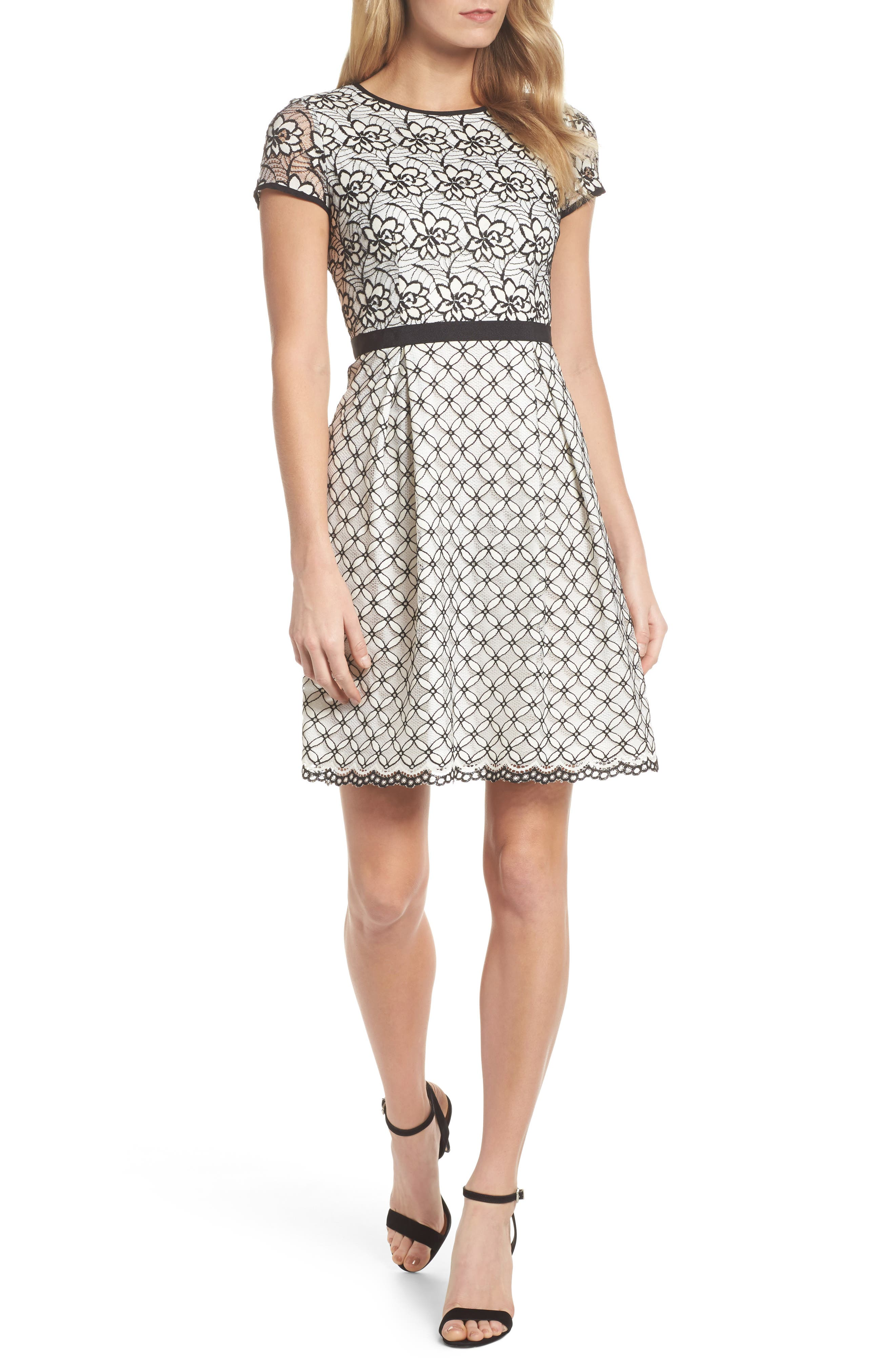 Lace Fit & Flare Dress,                         Main,                         color, Ivory/ Black