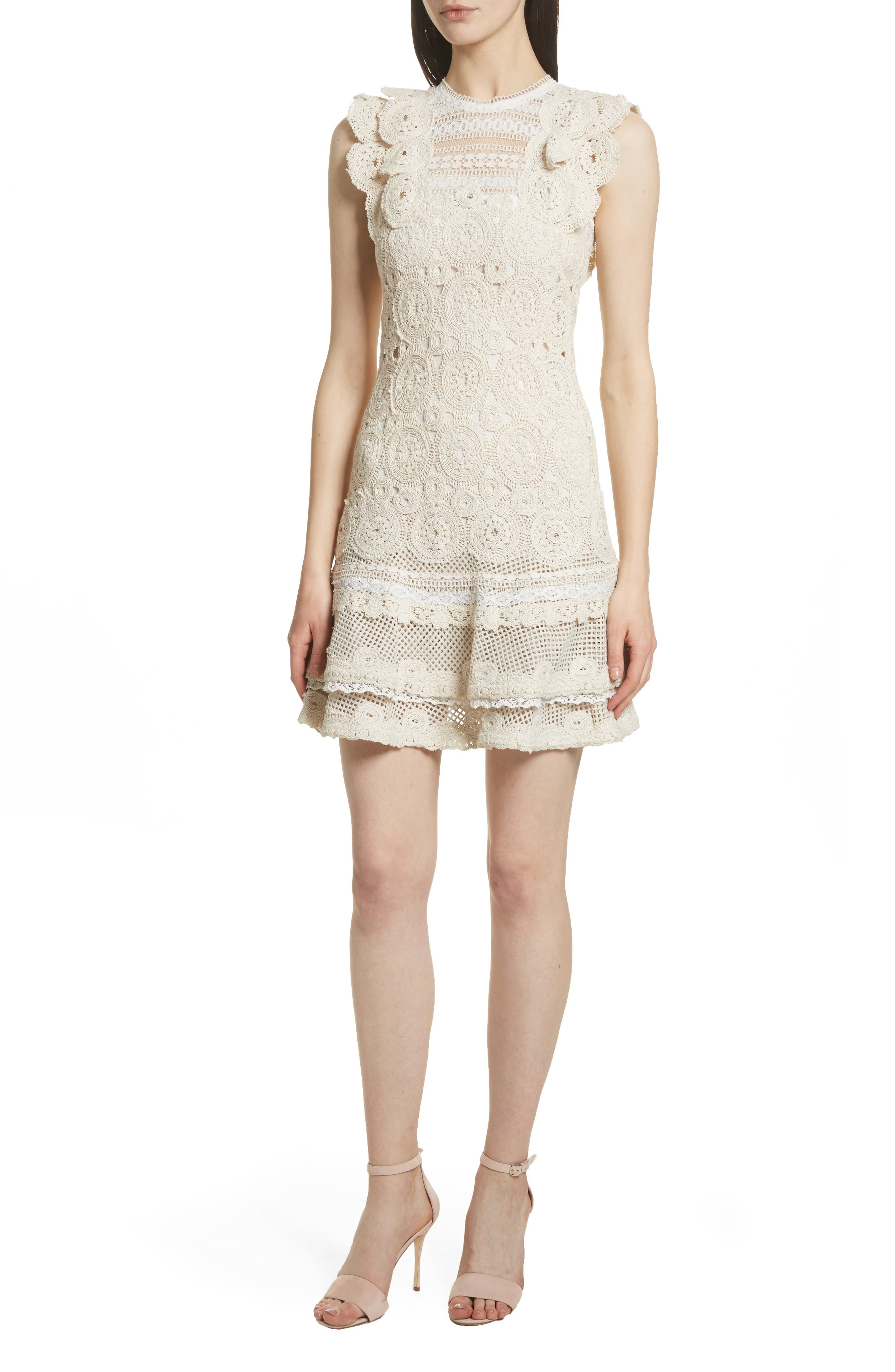 Ruffle Hem Macramé Dress,                             Main thumbnail 1, color,                             Ecru Combo