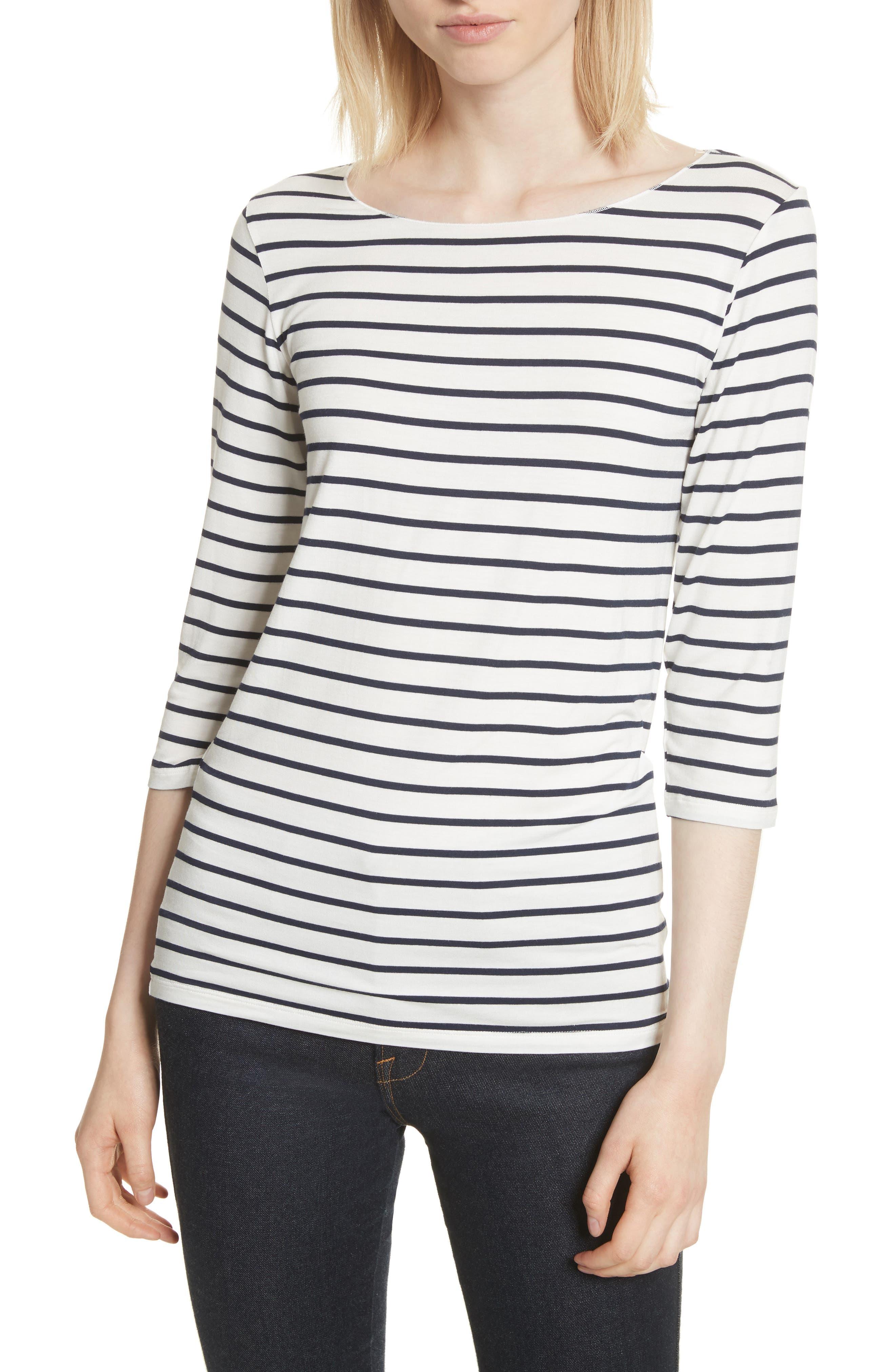 Alternate Image 1 Selected - Majestic Filatures Stripe Boat Neck Shirt