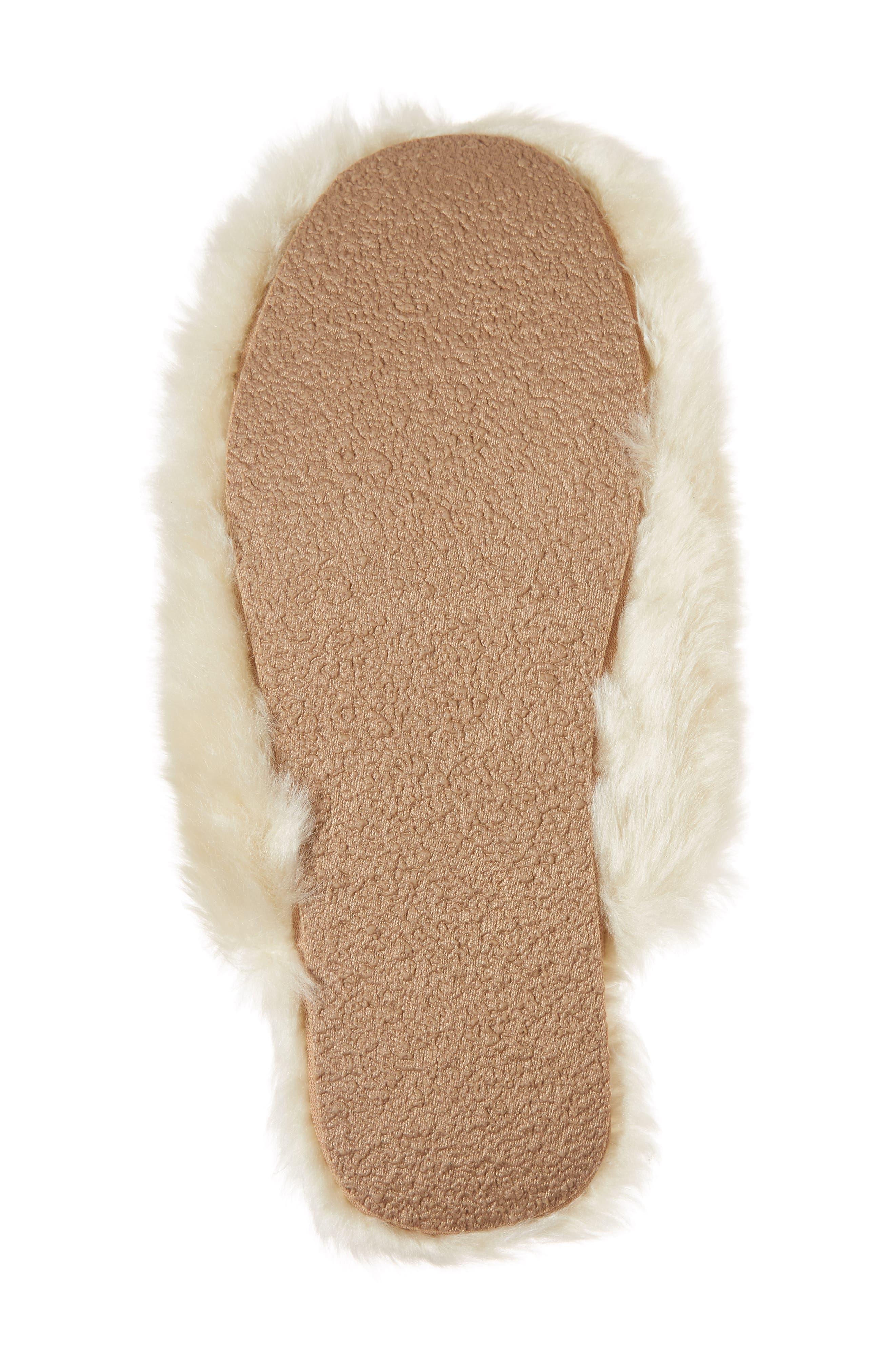 Faux Fur Slipper,                             Alternate thumbnail 6, color,                             Natural
