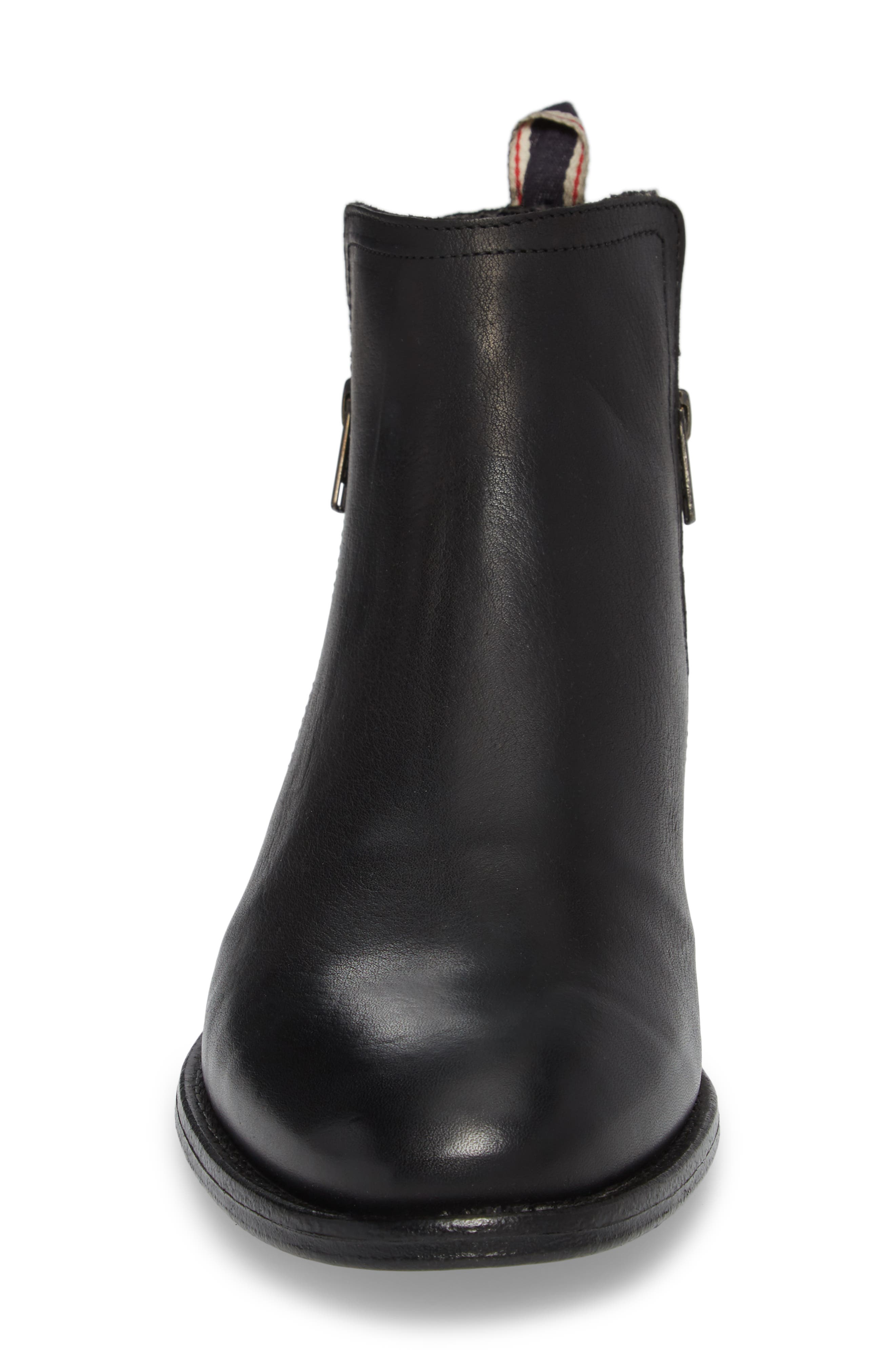 Gerone Zip Boot,                             Alternate thumbnail 4, color,                             Black Leather Fabric