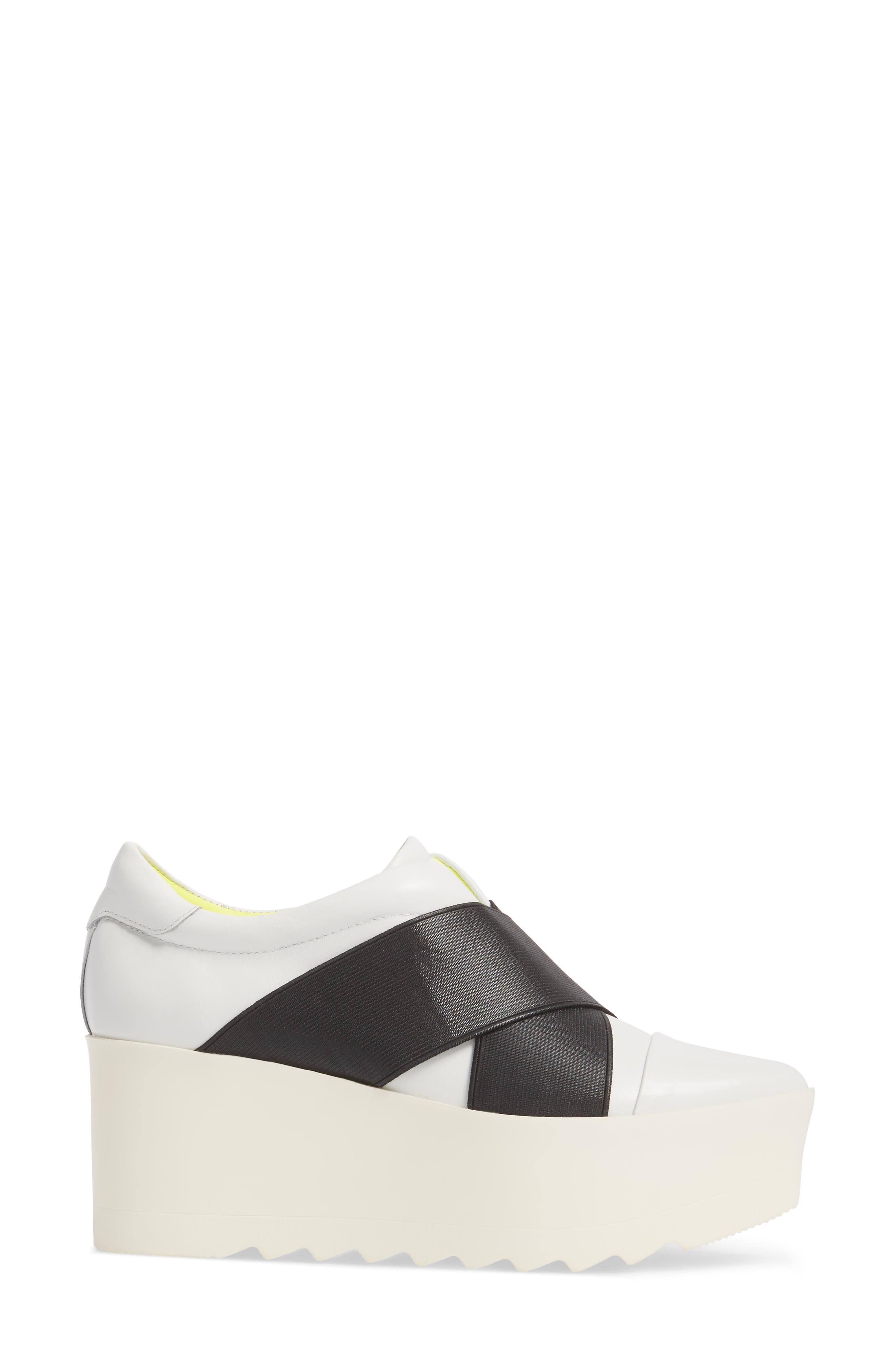 Tasha Platform Slip-On Sneaker,                             Alternate thumbnail 3, color,                             White Leather