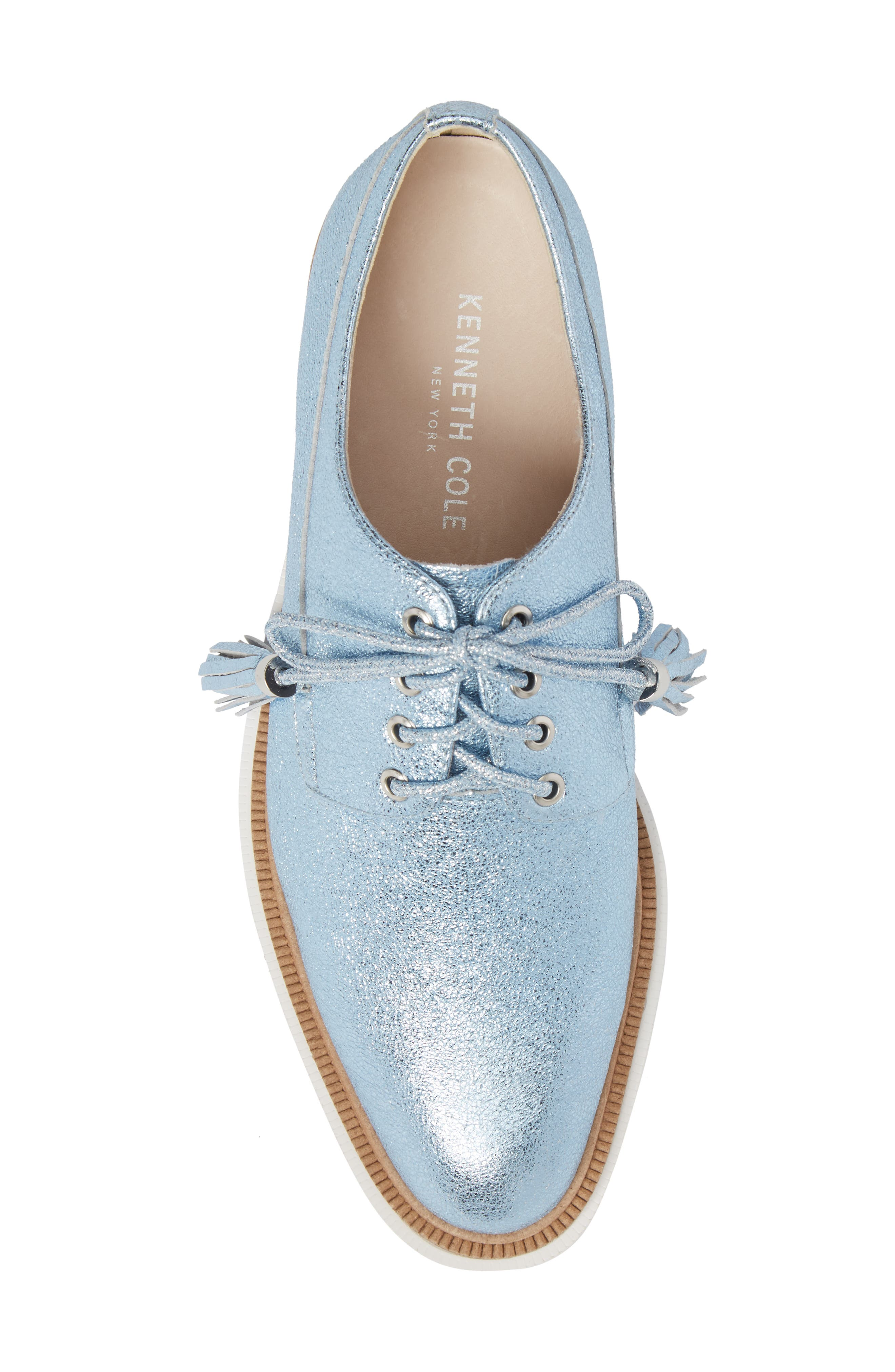 Annie Oxford,                             Alternate thumbnail 5, color,                             Blue Metallic Leather