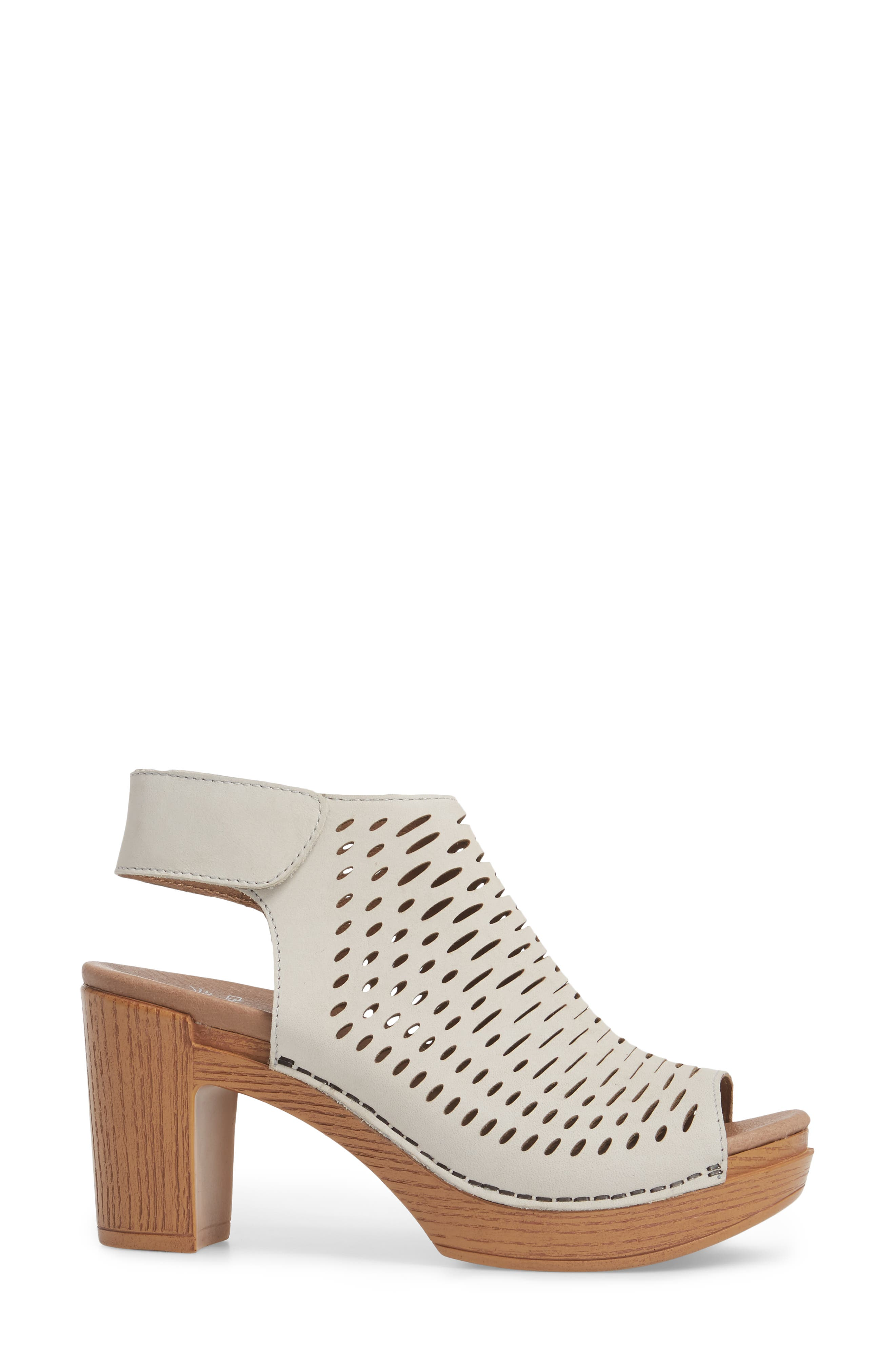 Danae Block Heel Sandal,                             Alternate thumbnail 3, color,                             Oyster Milled Nubuck Leather