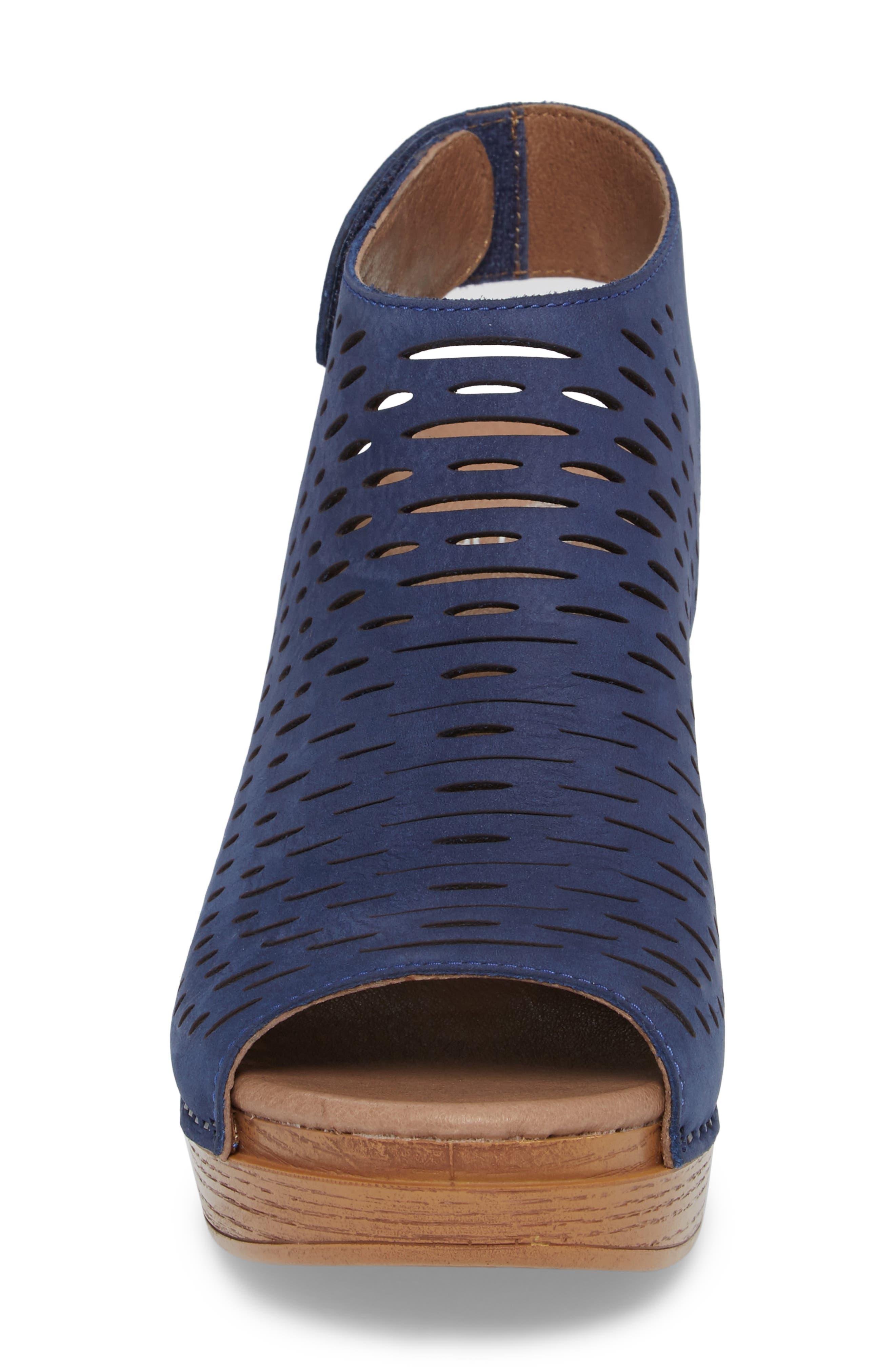 Danae Block Heel Sandal,                             Alternate thumbnail 4, color,                             Blue Milled Nubuck Leather