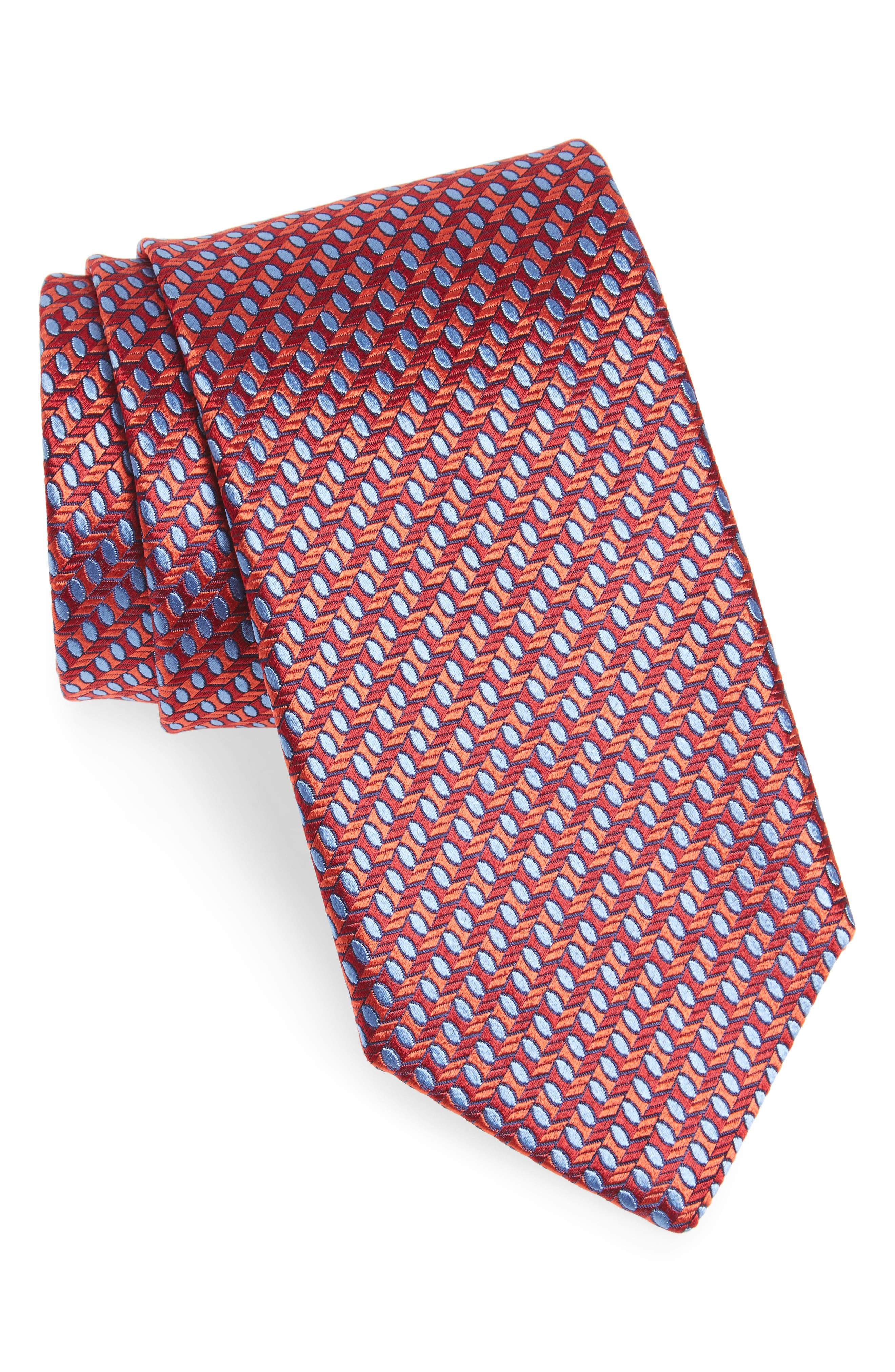 Geometric Silk Tie,                             Main thumbnail 1, color,                             Red