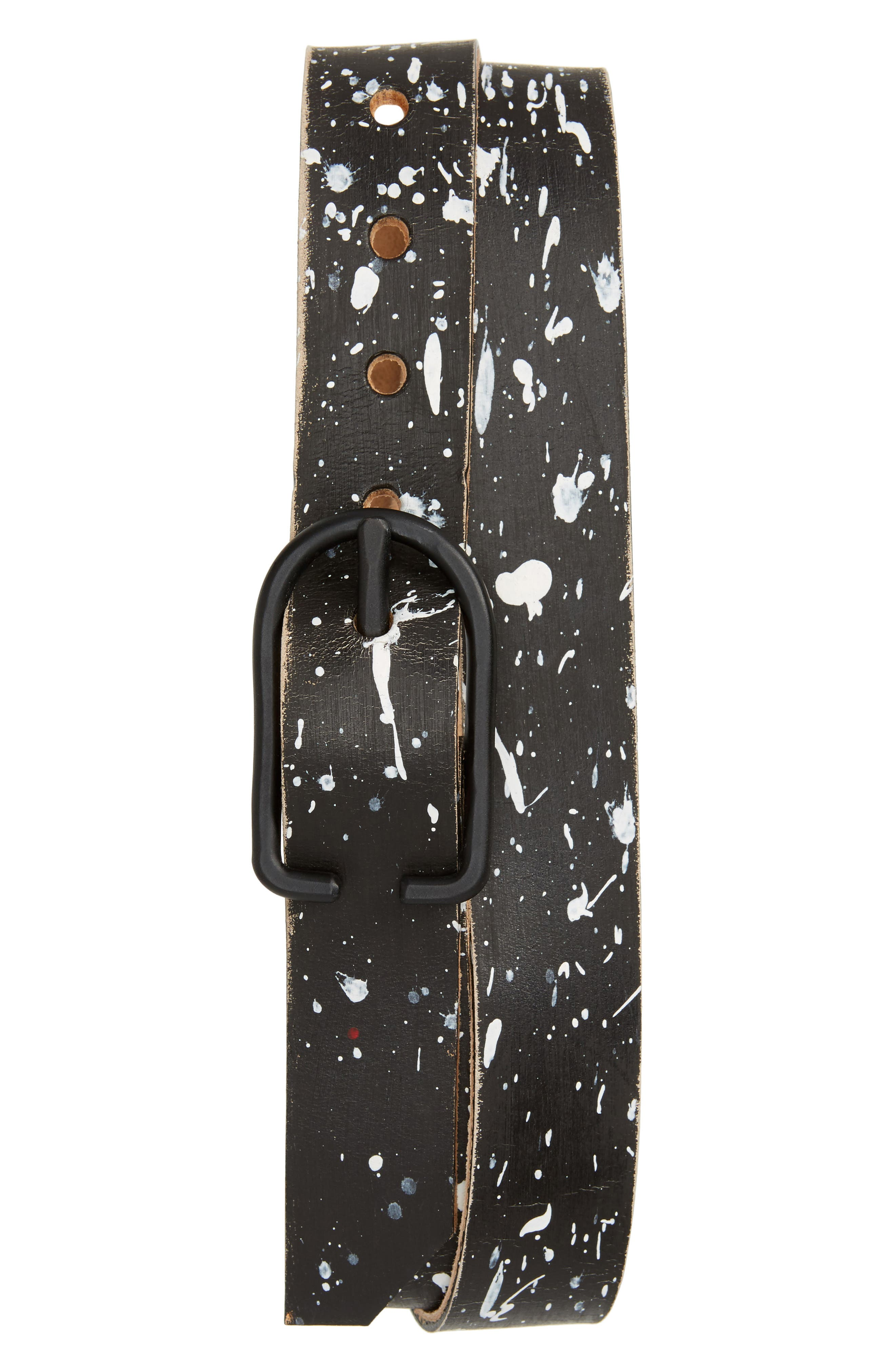 Cause & Effect Paint Splatter Leather Belt,                         Main,                         color, Black/ White