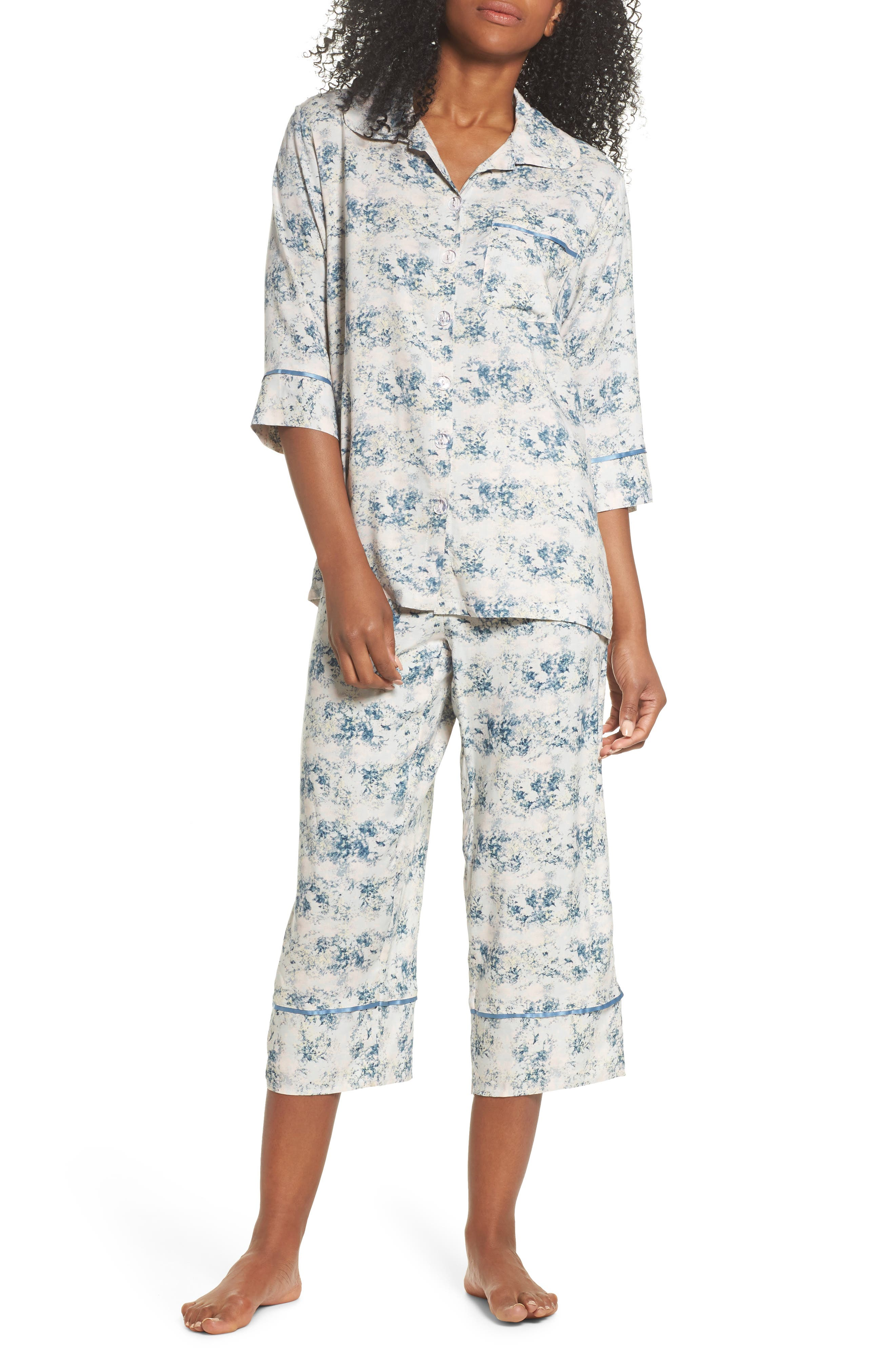 Floral Print Crop Pajamas,                             Main thumbnail 1, color,                             Blue