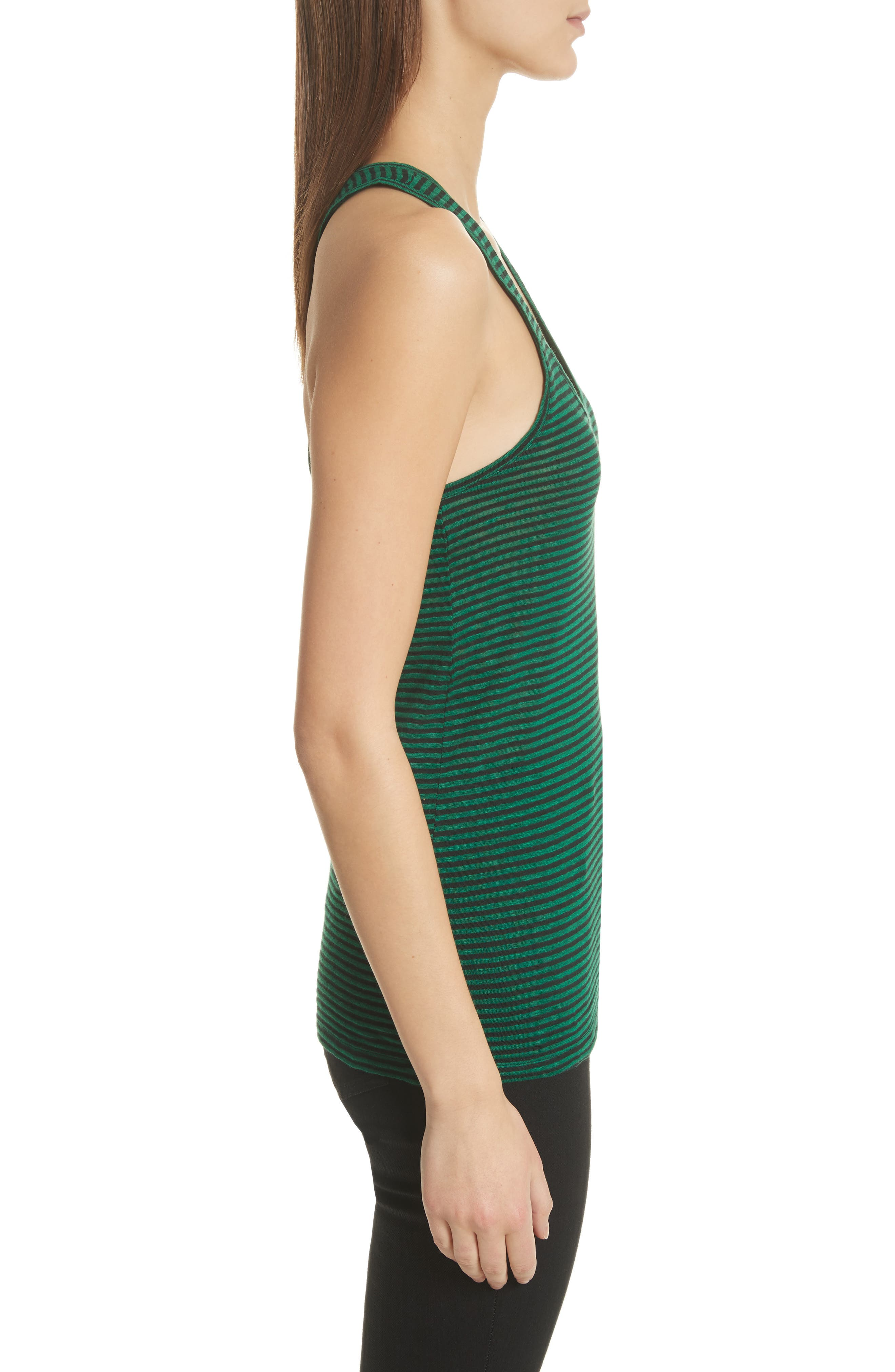 Isabel Marant Étoile Avien Stripe Cotton & Linen Tank,                             Alternate thumbnail 3, color,                             Green