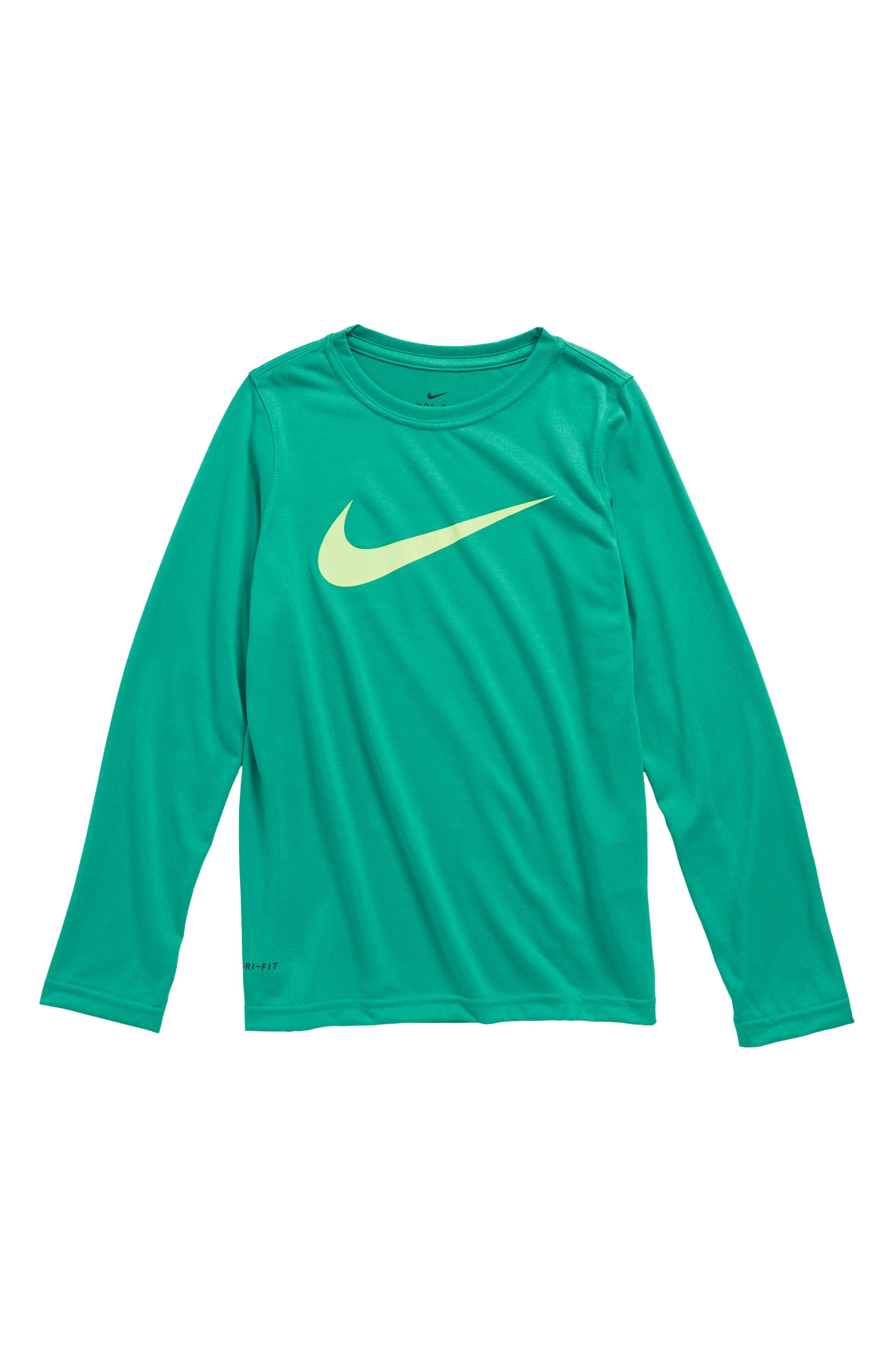 Dry Long Sleeve Swoosh Logo T-Shirt,                         Main,                         color, Grey