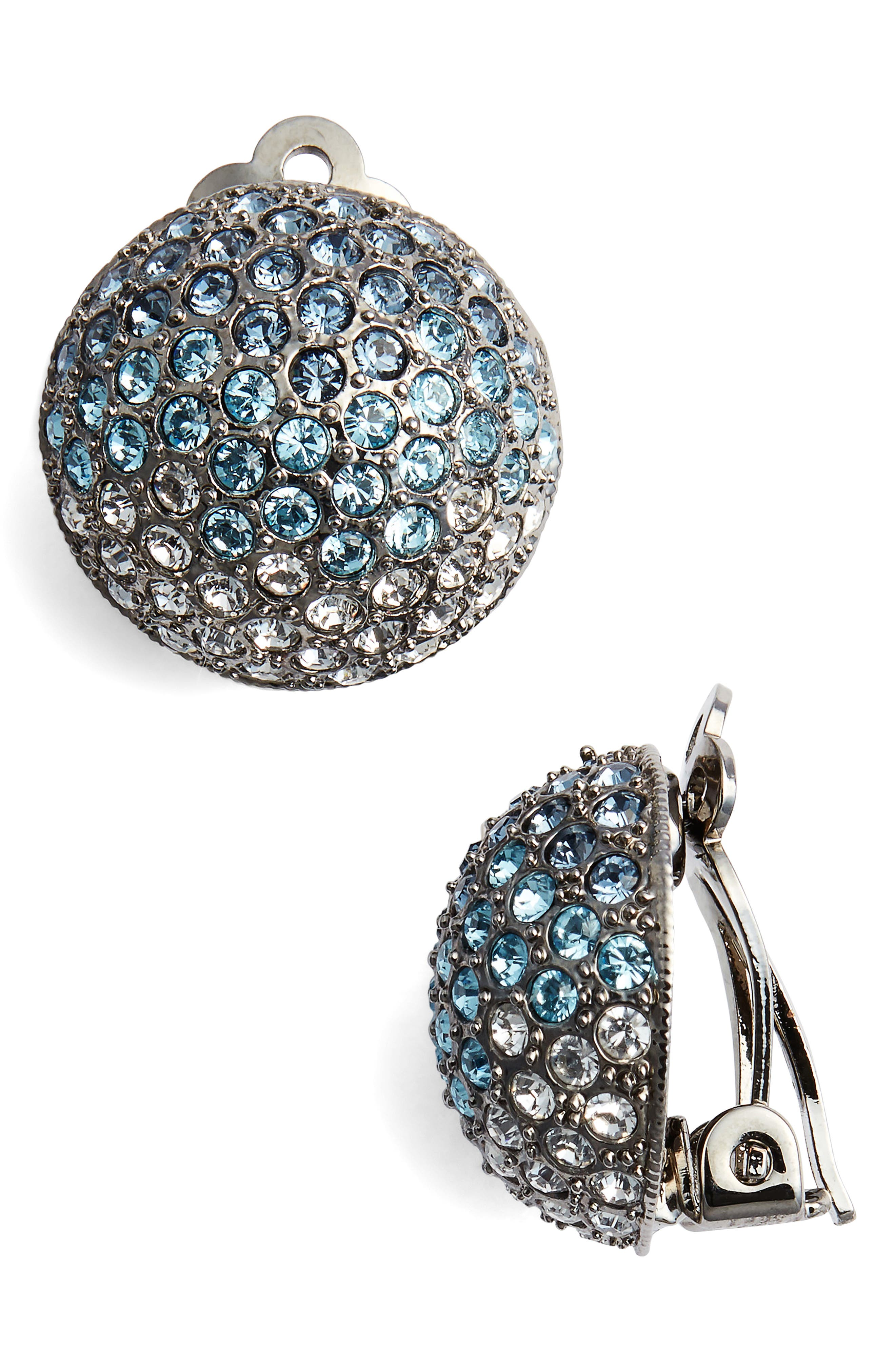 Medium Pavé Button Clip Earrings,                             Main thumbnail 1, color,                             Black/ Ombre Denim Blue Multi